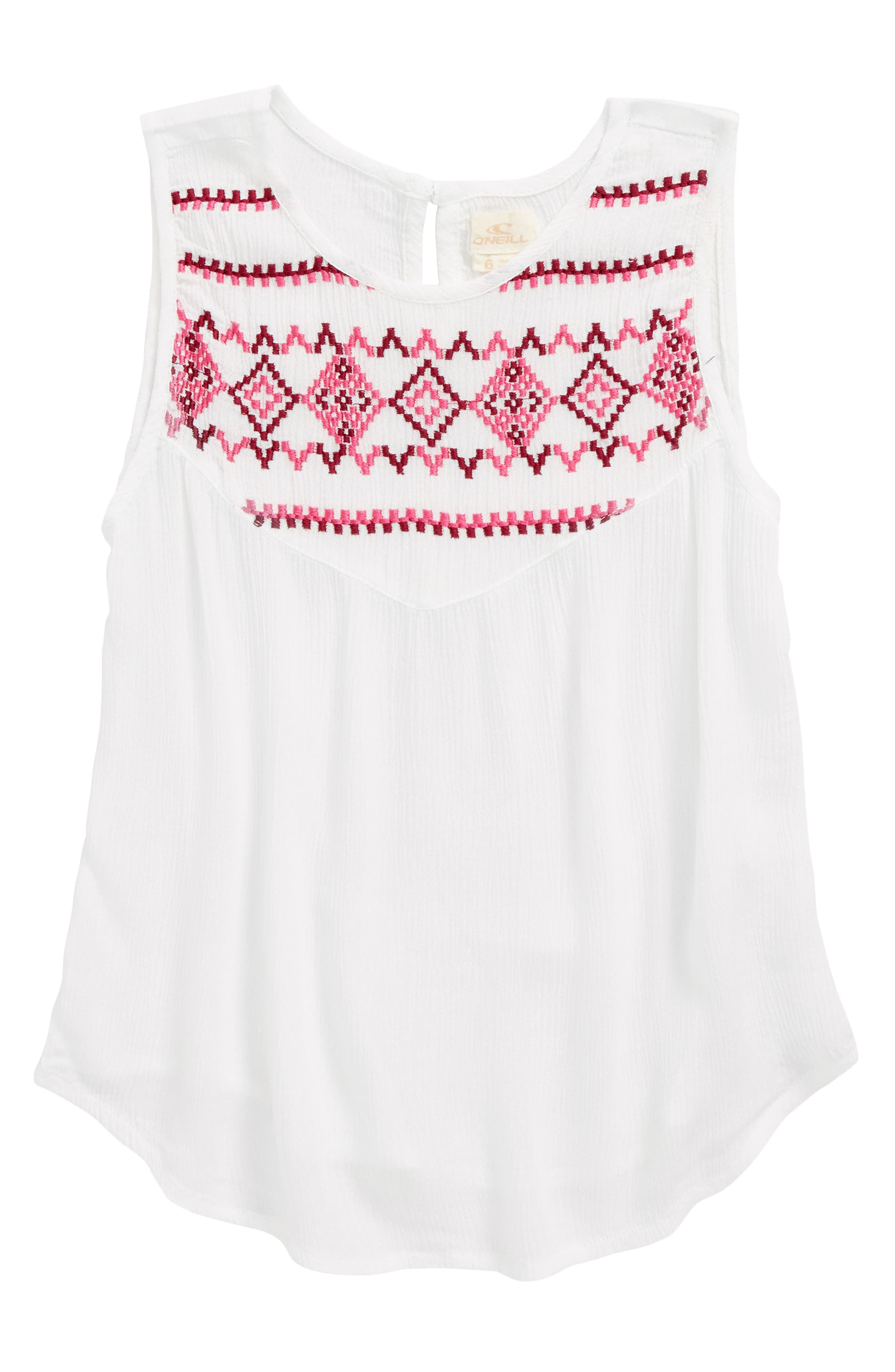 Feliz Embroidered Tank,                         Main,                         color, Naked
