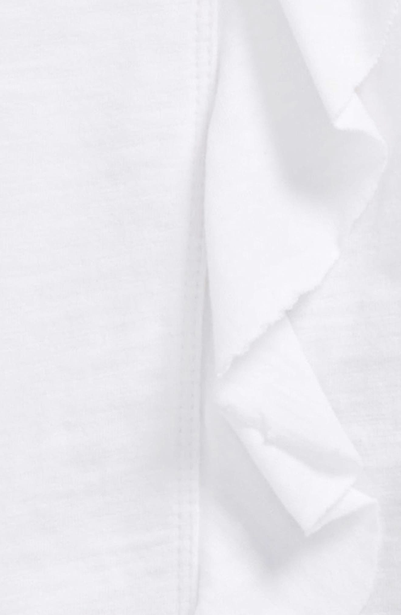 Ruffle Tee & Stripe Leggings Set,                             Alternate thumbnail 2, color,                             Optic White