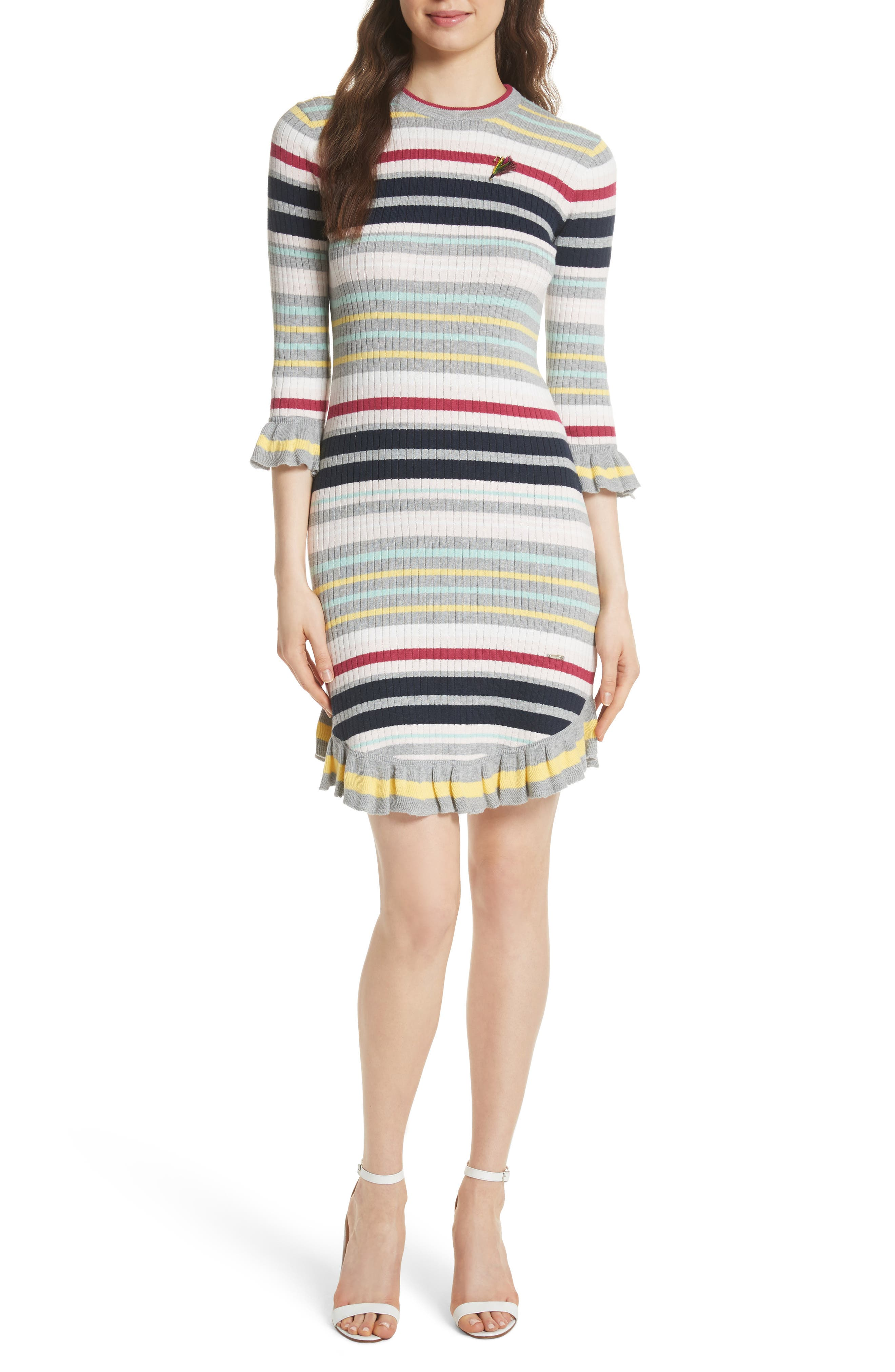 Colour by Numbers Stripe Sweater Dress,                             Main thumbnail 1, color,                             Grey