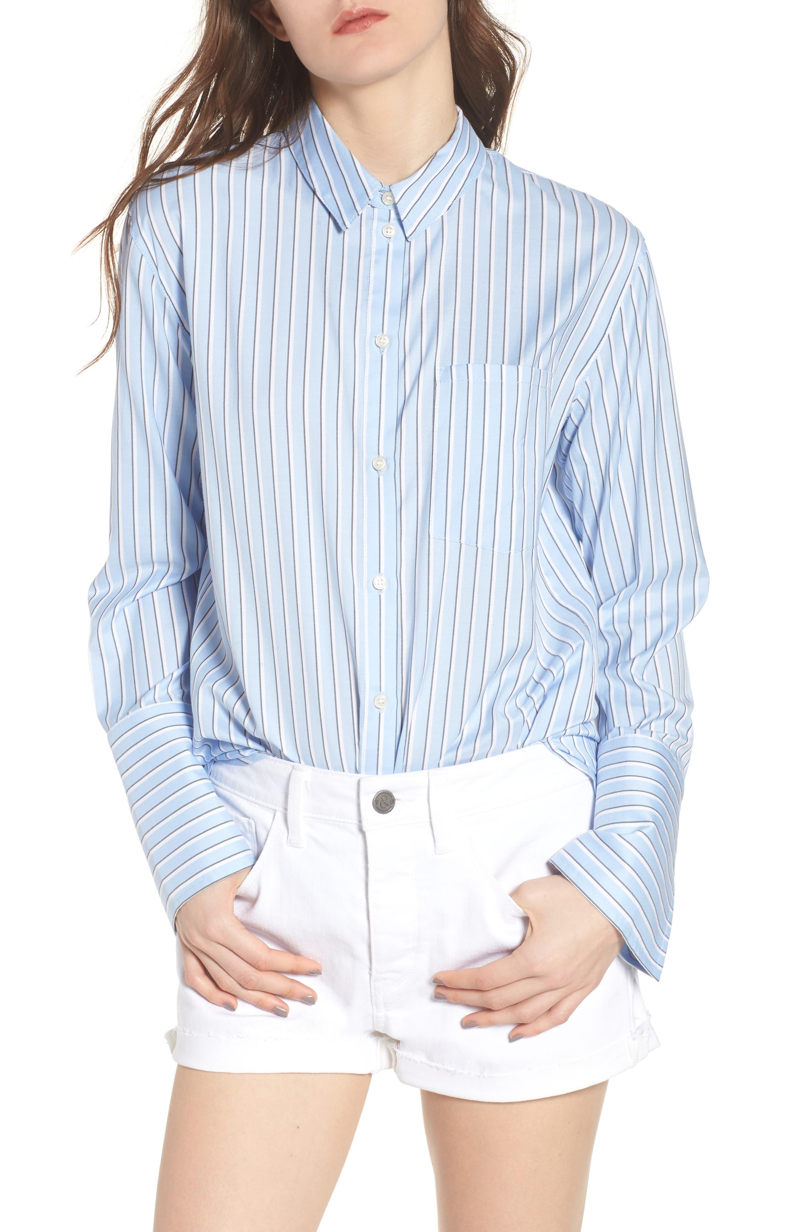 Stripe Button Front Shirt,                             Main thumbnail 1, color,                             Blue Brunnera Groove Stripe