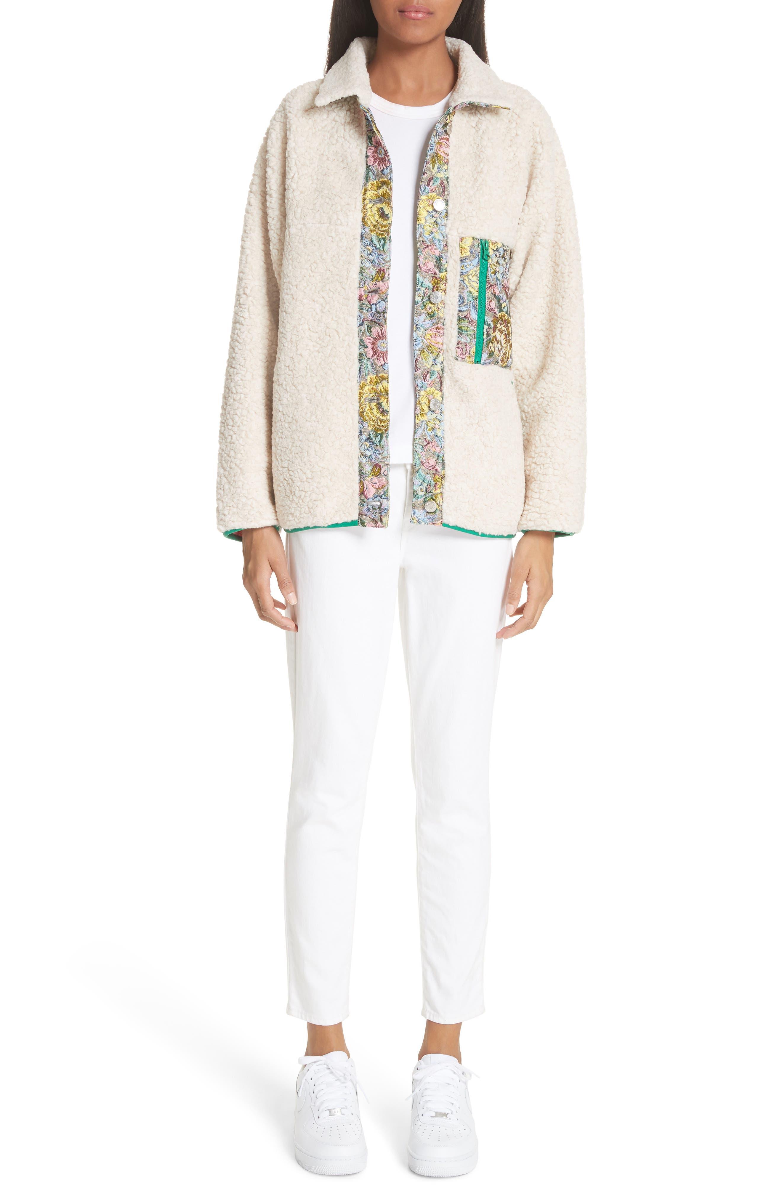 Bayside Floral Trim Fleece Jacket,                             Alternate thumbnail 8, color,                             Creamy