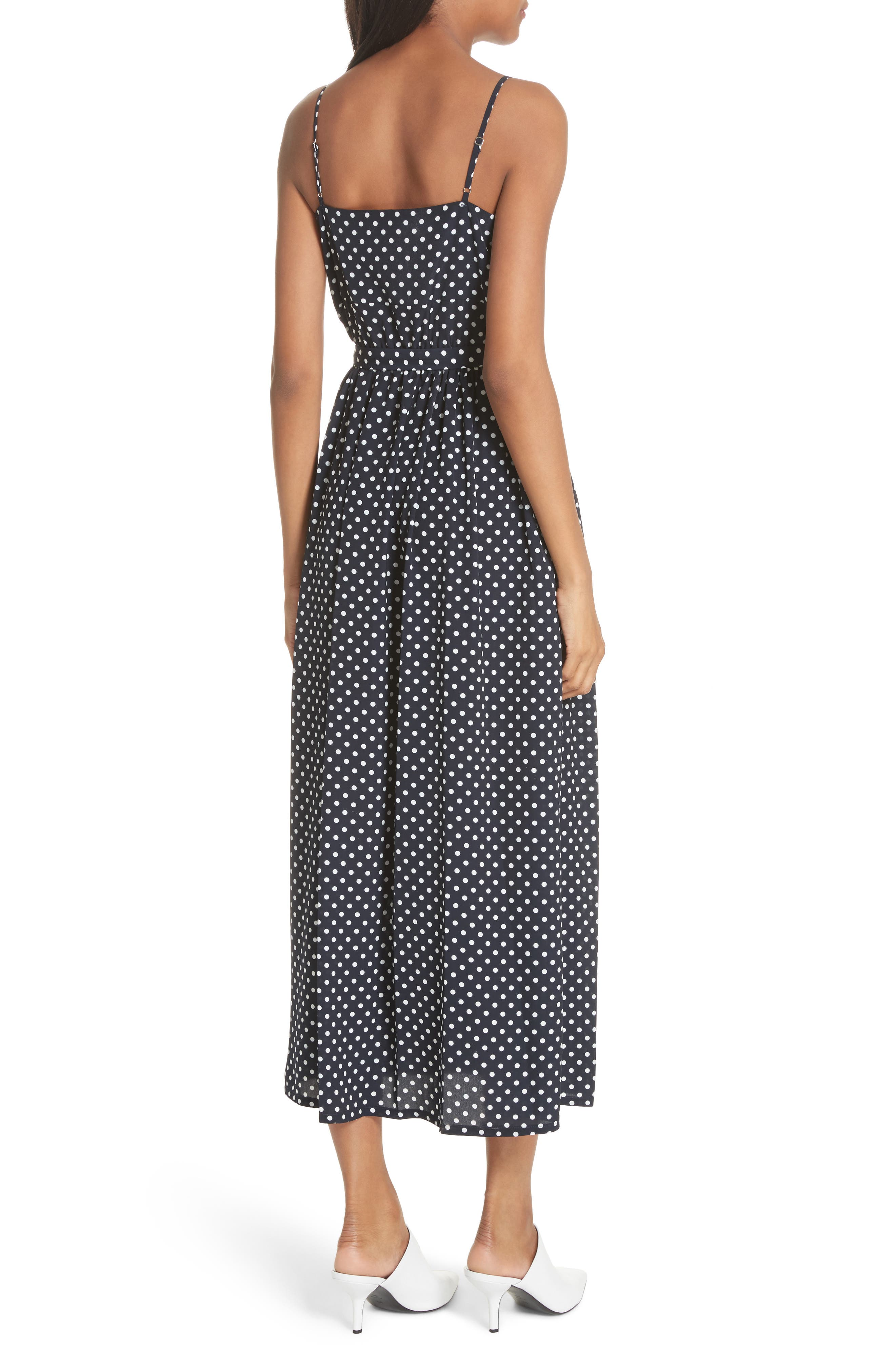 Polka Dot Midi Dress,                             Alternate thumbnail 3, color,                             Navy