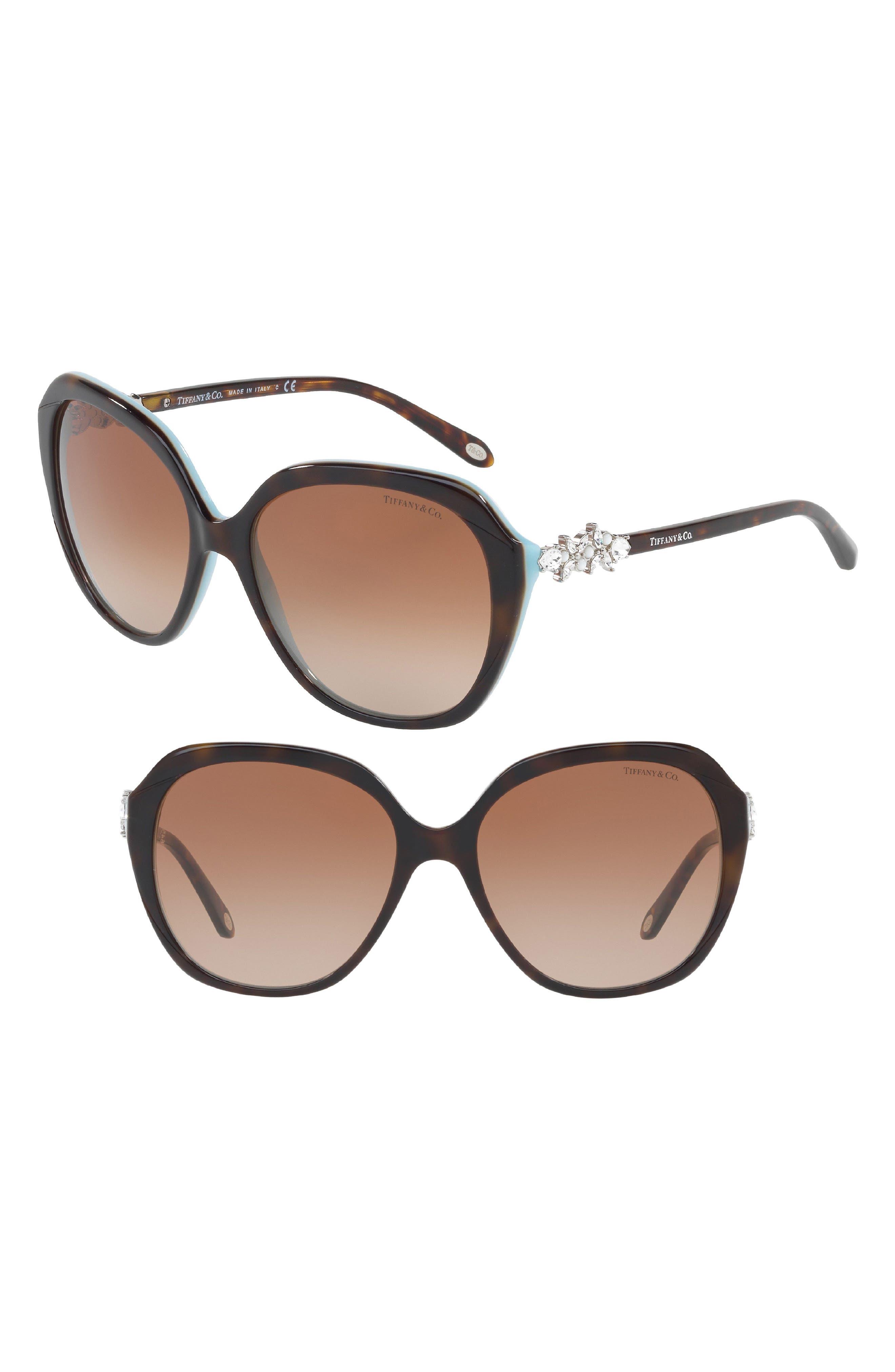 Tiffany 57mm Sunglasses,                         Main,                         color, Havana/ Blue Gradient
