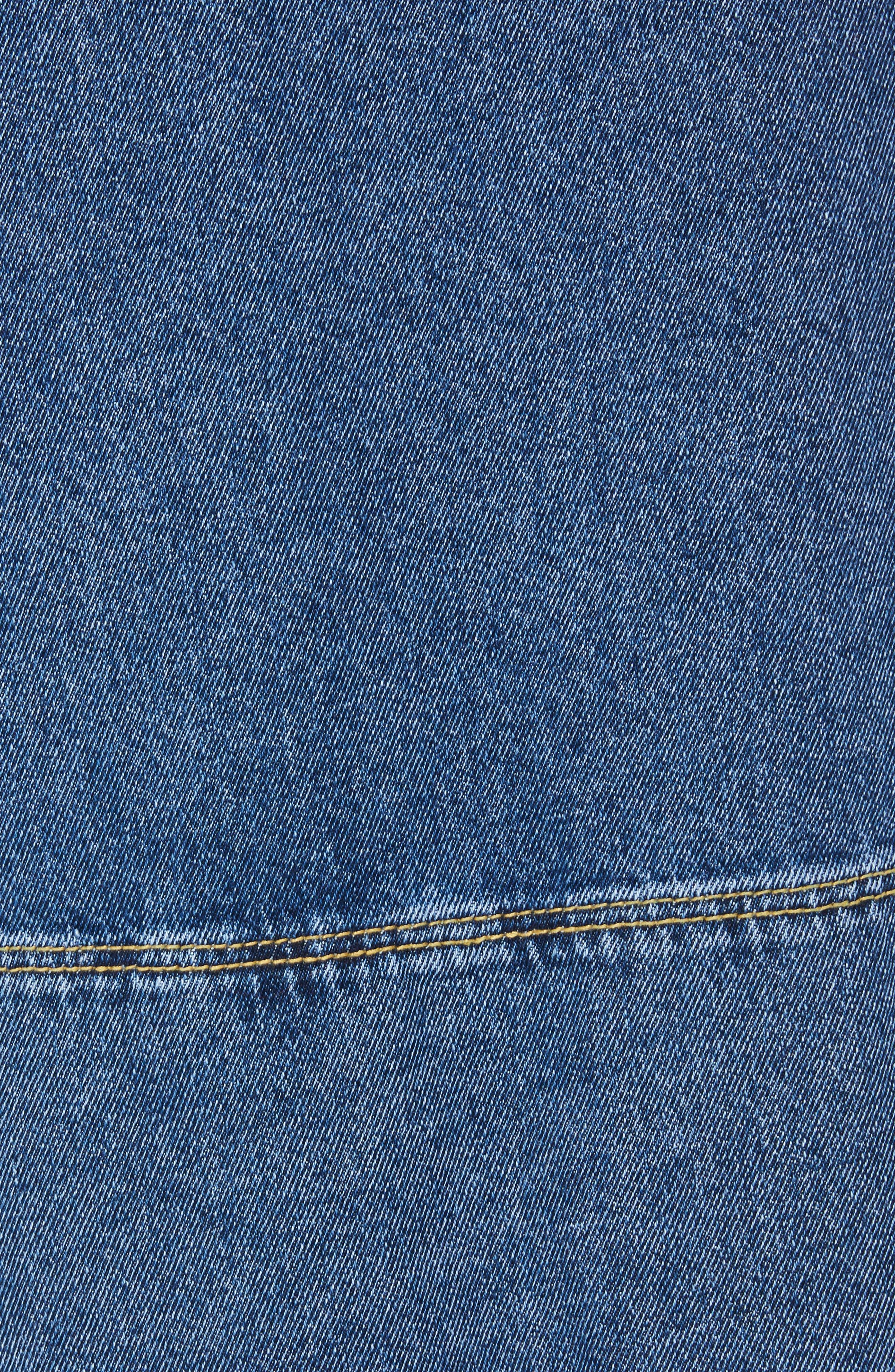 Denim Pinafore Wrap Dress,                             Alternate thumbnail 3, color,                             Blue