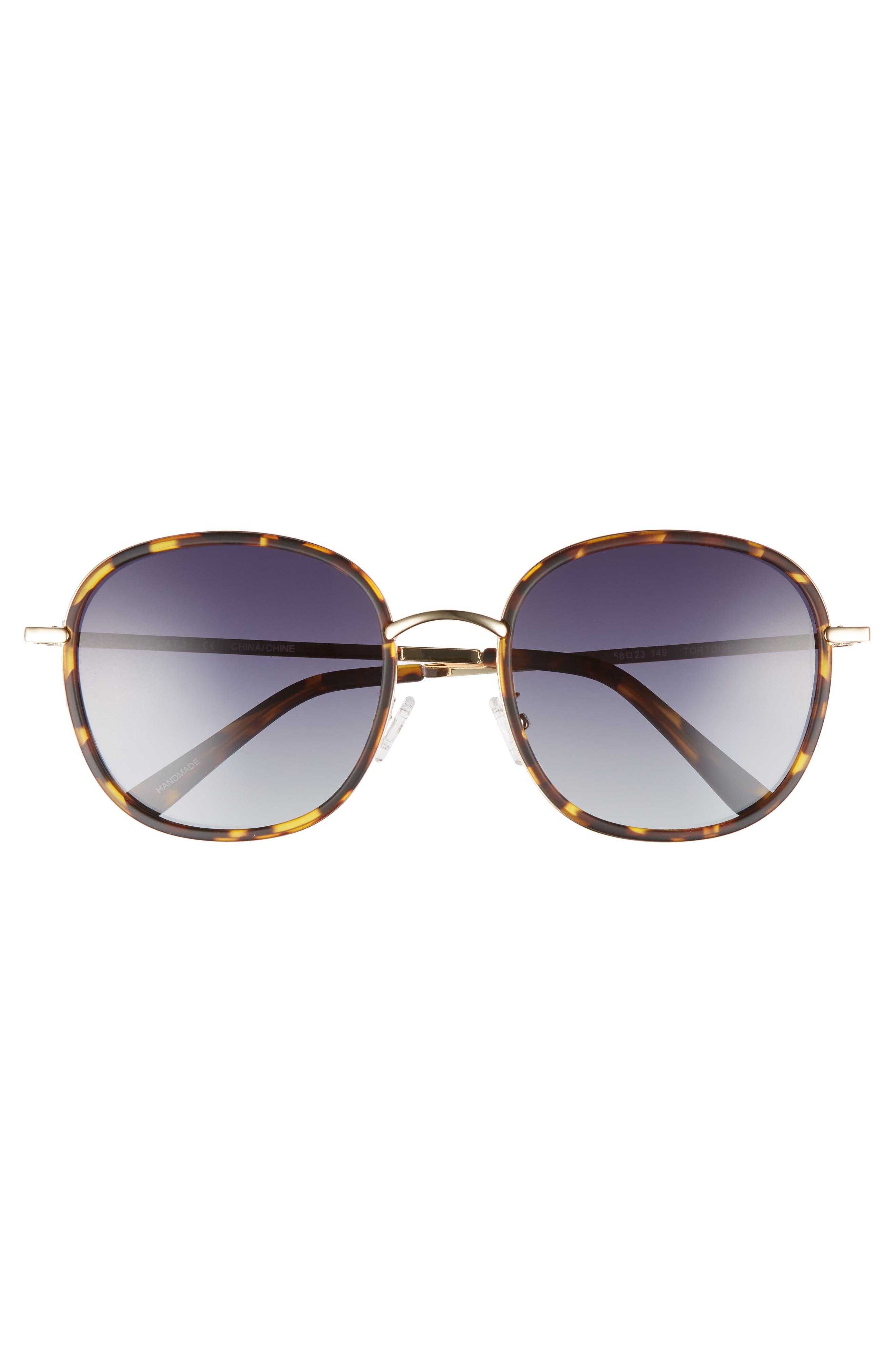 Layla 58mm Sunglasses,                             Alternate thumbnail 3, color,                             Matte Tort