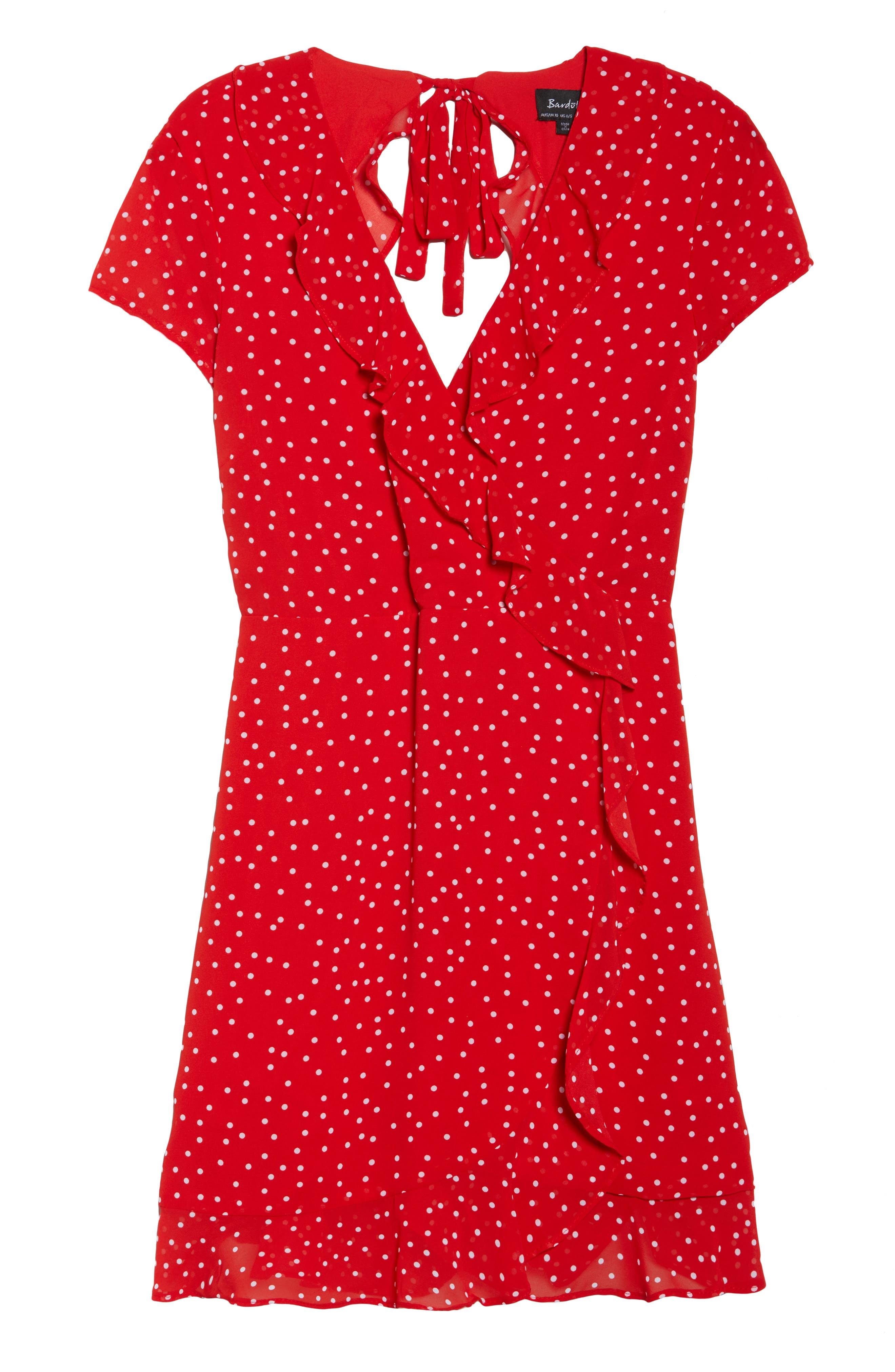Alternate Image 7  - Bardot Polka Dot Ruffle Dress
