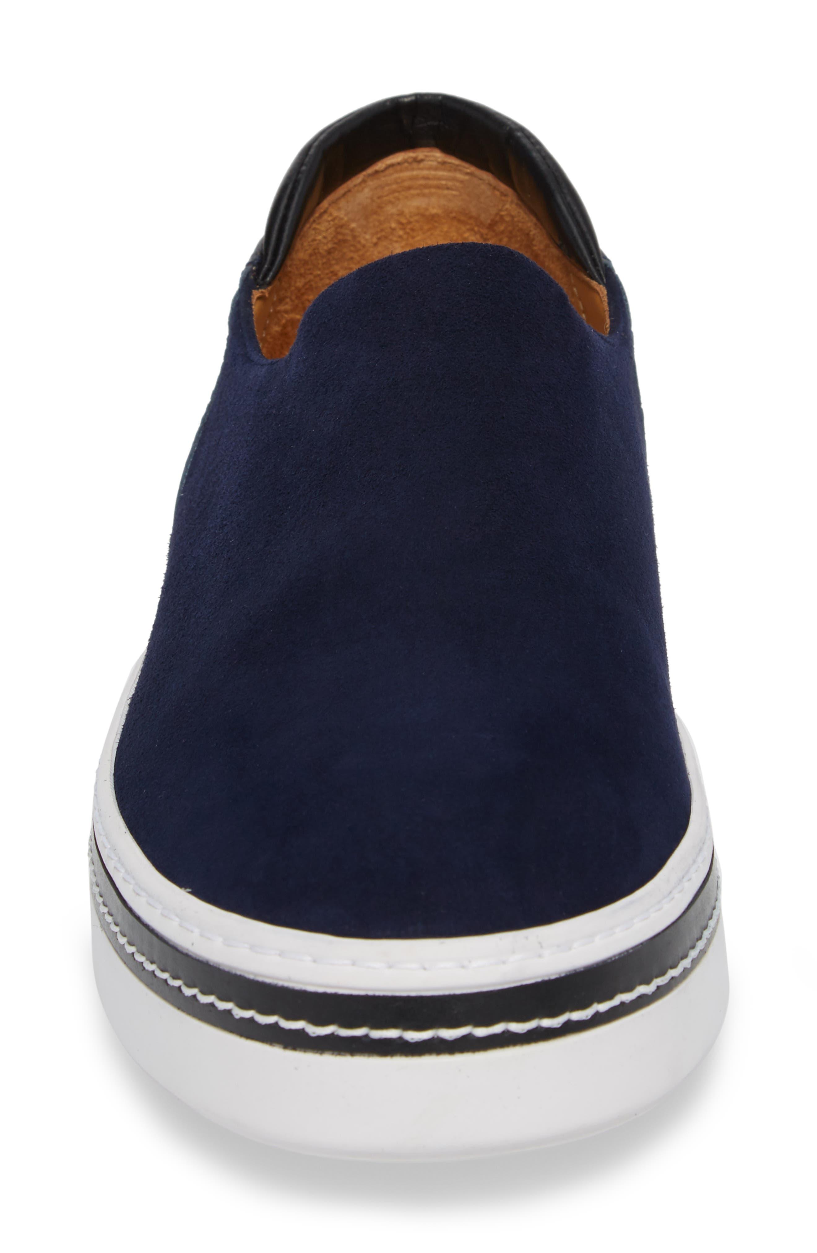 Stan Slip-On Sneaker,                             Alternate thumbnail 4, color,                             Midnight Blue Suede