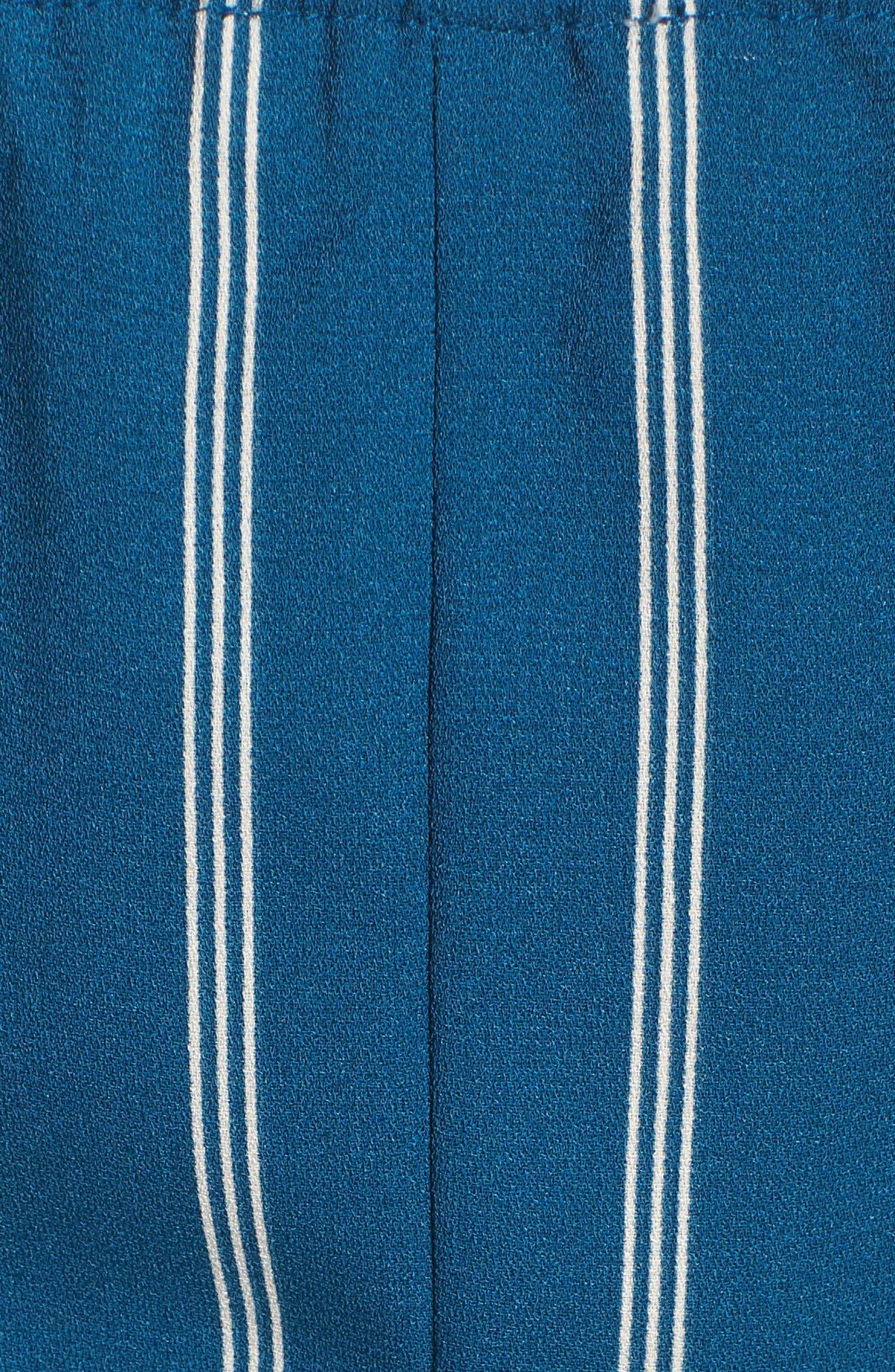 Cutout Culotte Jumpsuit,                             Alternate thumbnail 5, color,                             Teal Seagate Pinstripe