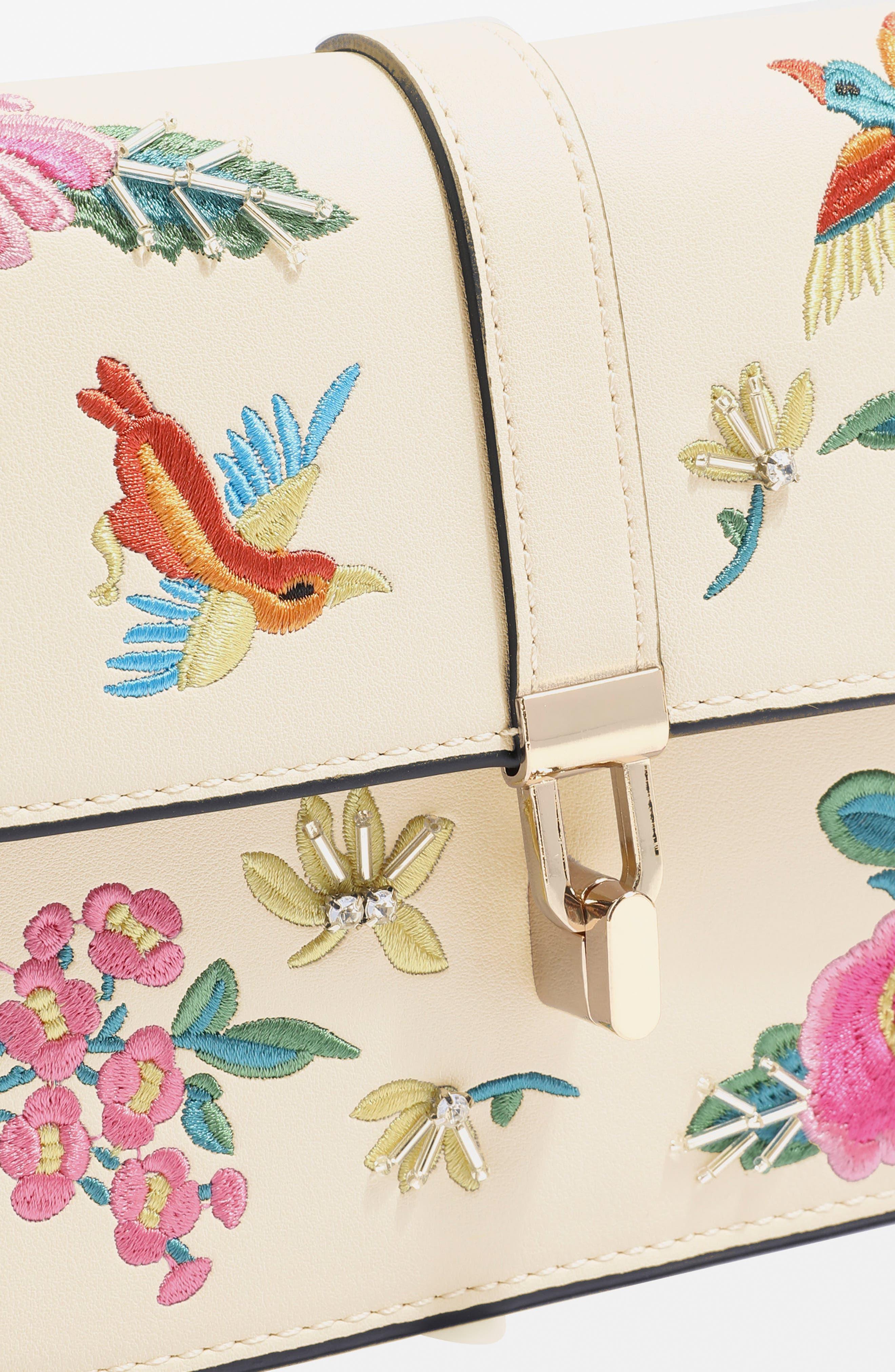 Hummingbird Embroidered Crossbody Bag,                             Alternate thumbnail 4, color,                             Cream Multi