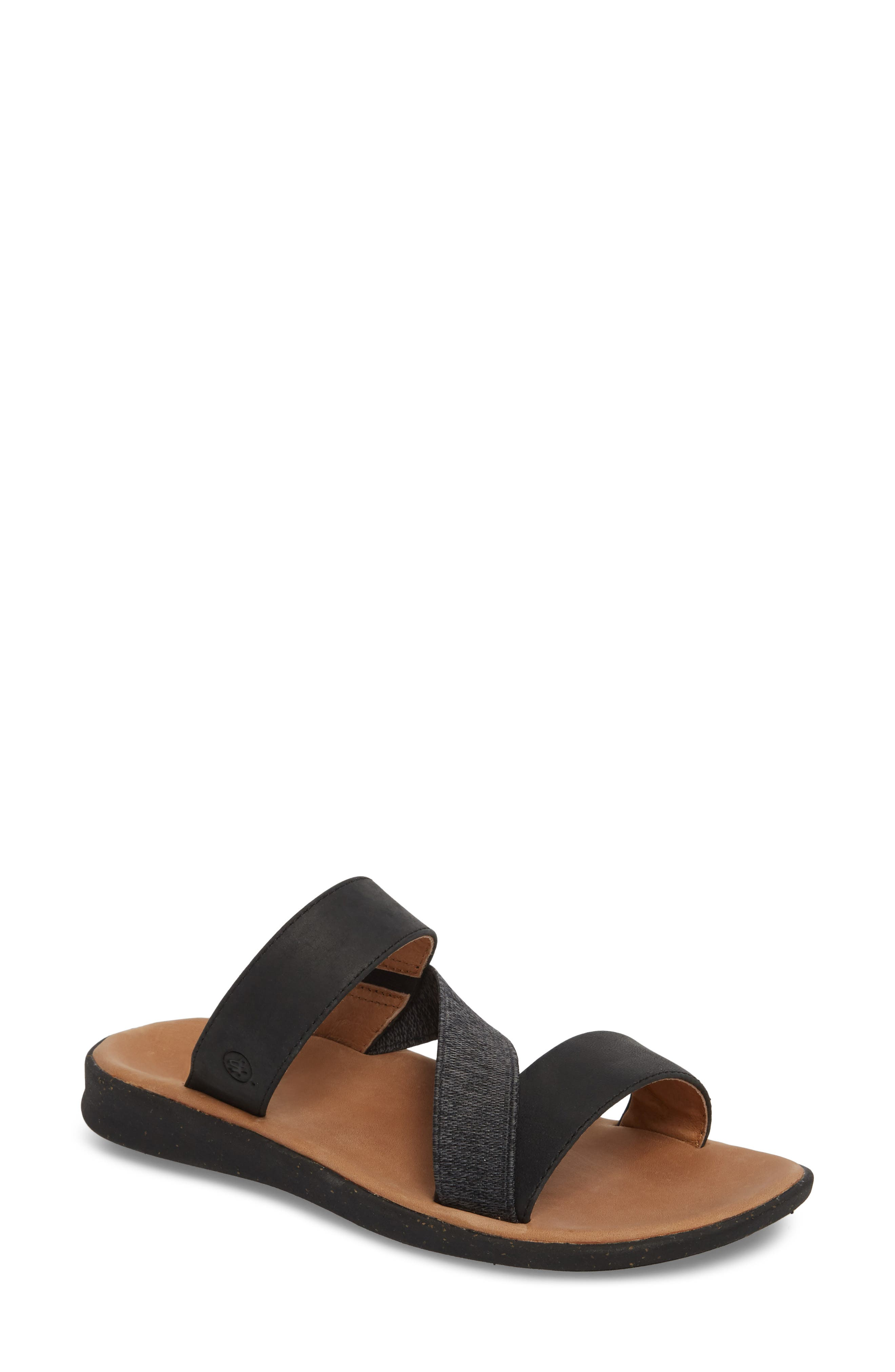 Reyes Slide Sandal,                             Main thumbnail 1, color,                             Black Leather