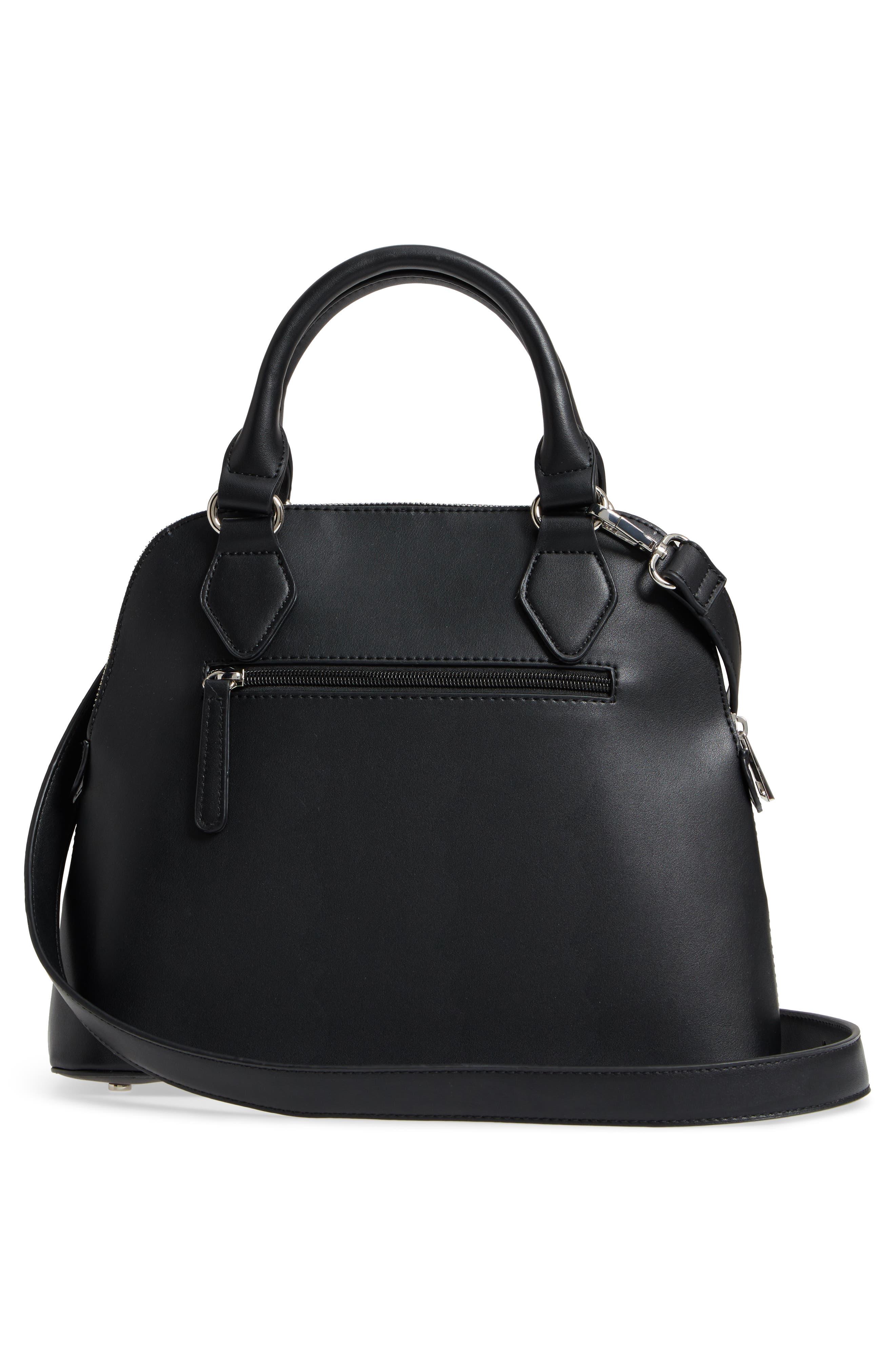 Structured Faux Leather Dome Satchel,                             Alternate thumbnail 3, color,                             Black