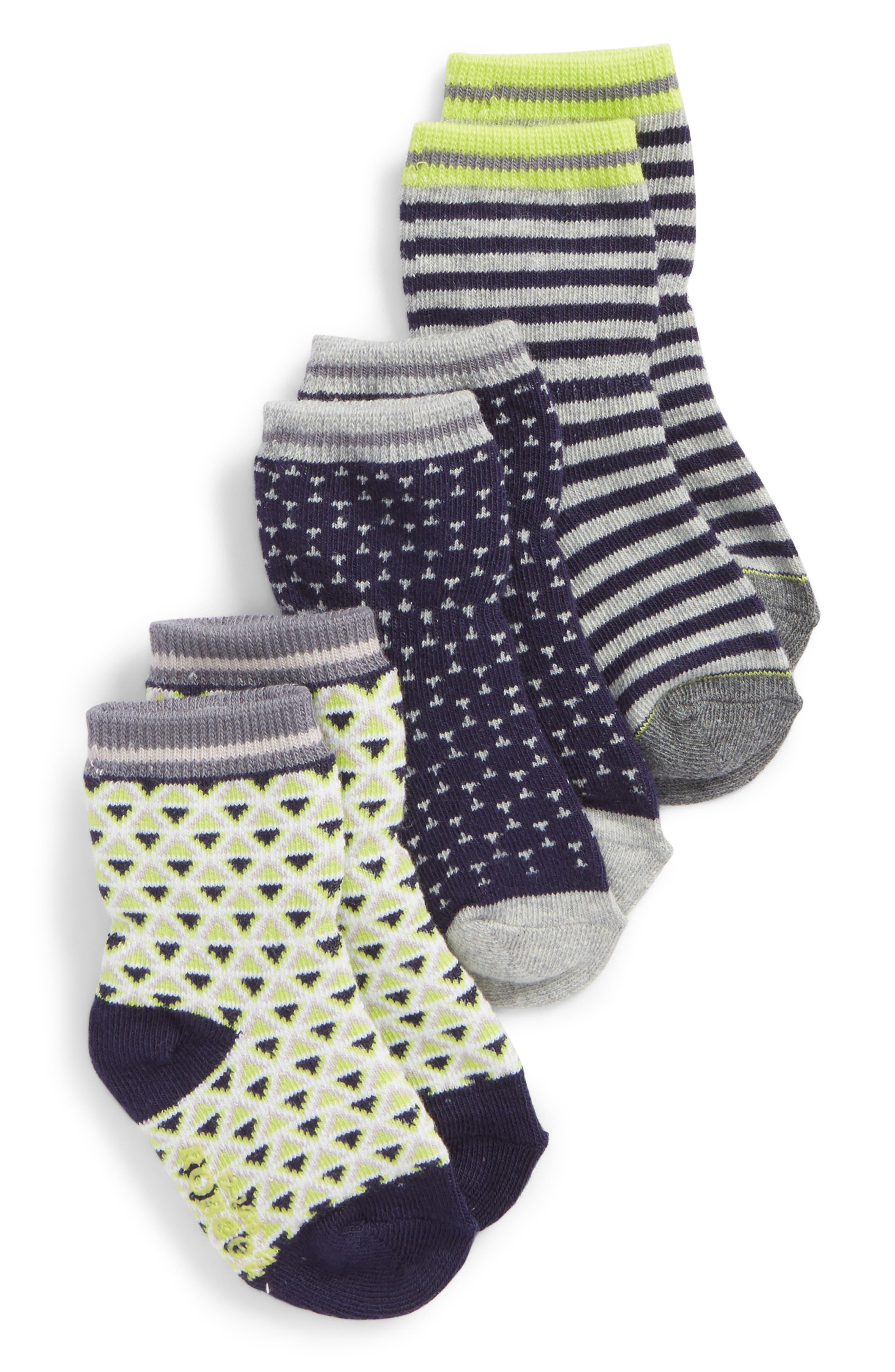 Geo 3-Pack Socks,                             Main thumbnail 1, color,                             Gray/ Navy/ Lime