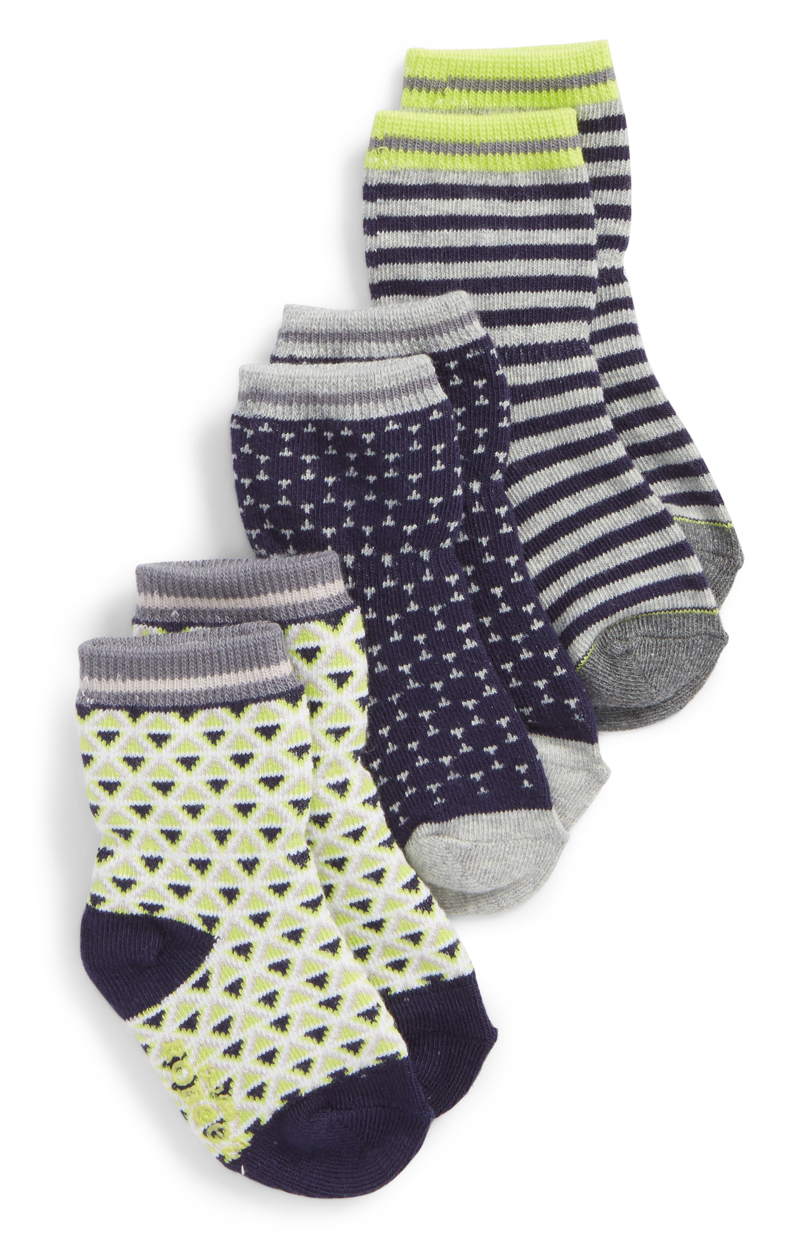 Geo 3-Pack Socks,                         Main,                         color, Gray/ Navy/ Lime
