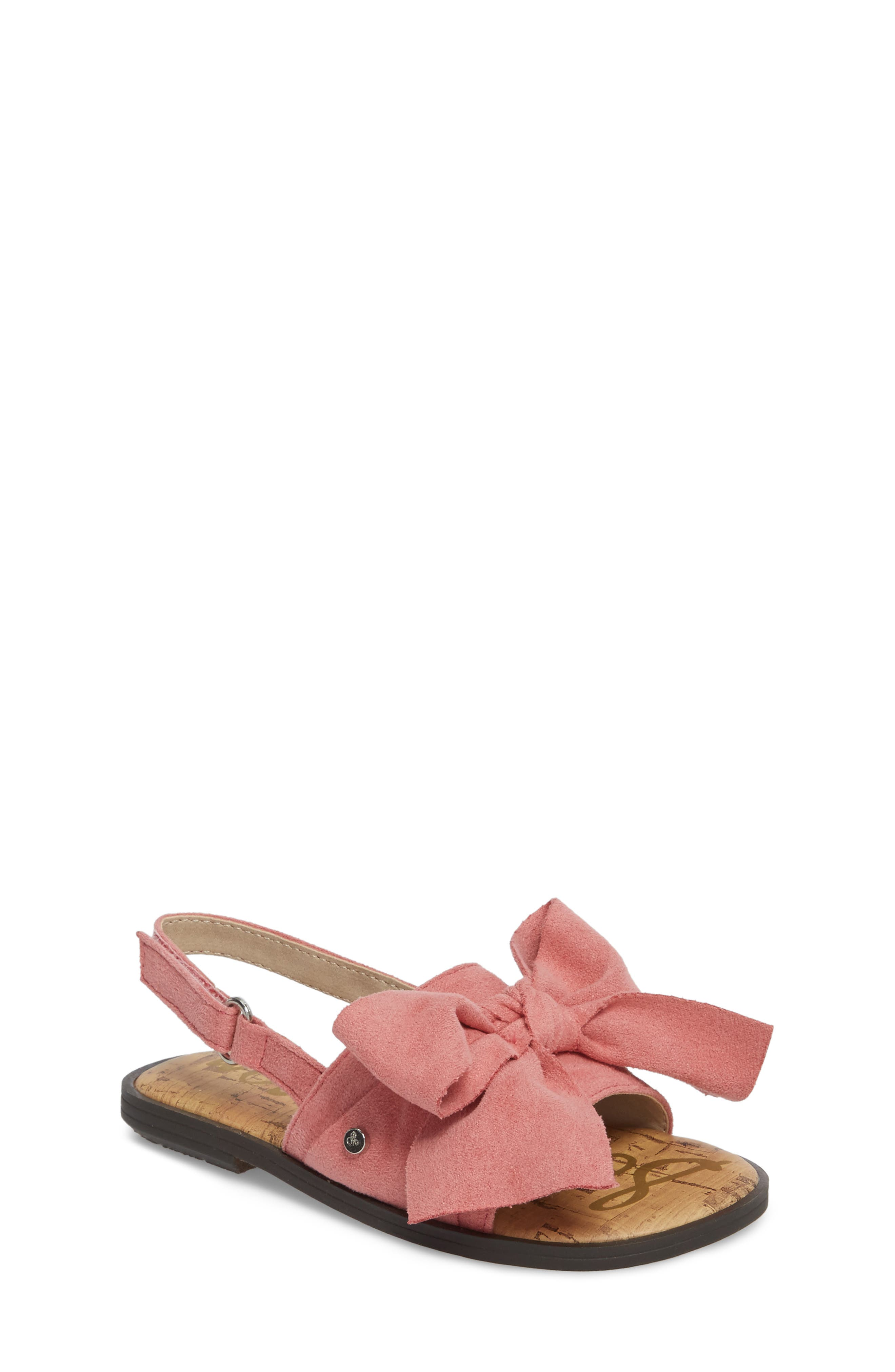 Gigi Bow Sandal,                             Main thumbnail 1, color,                             Pink Faux Suede