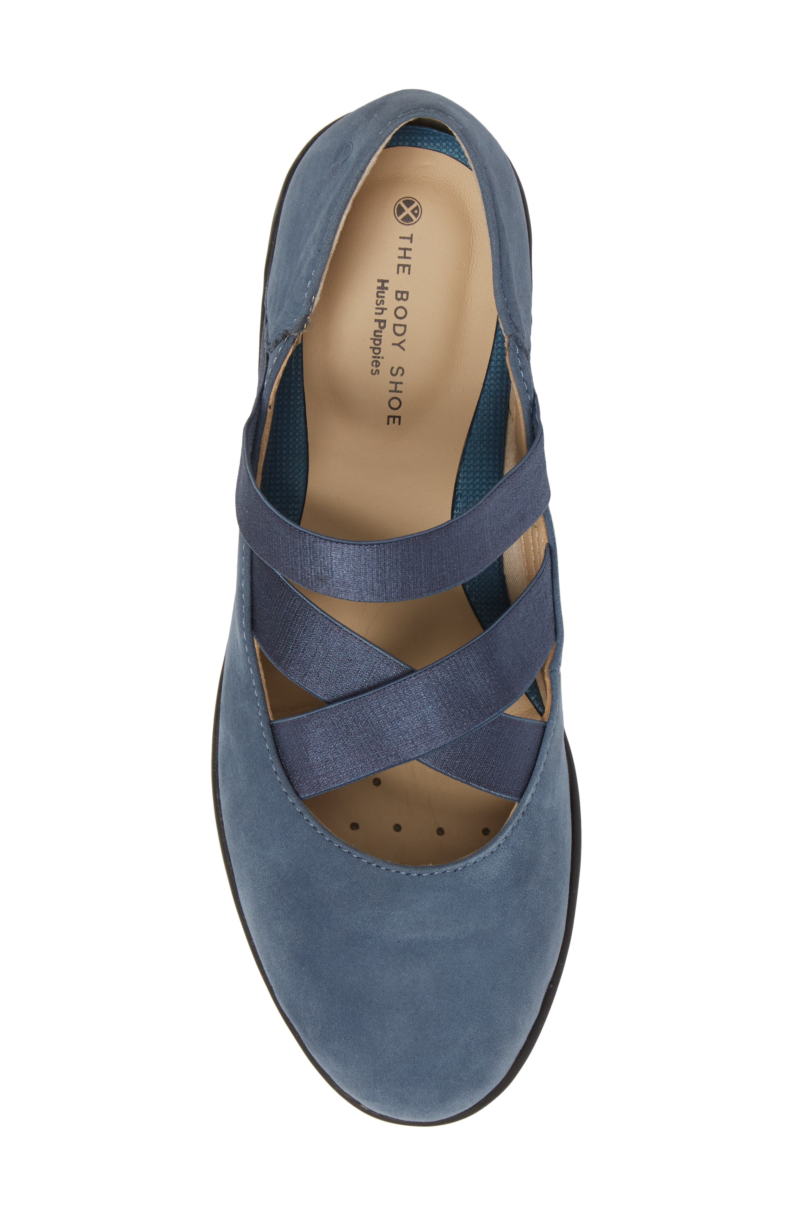Meree Madrine Cross Strap Flat,                             Alternate thumbnail 5, color,                             Vintage Indigo Nubuck Leather