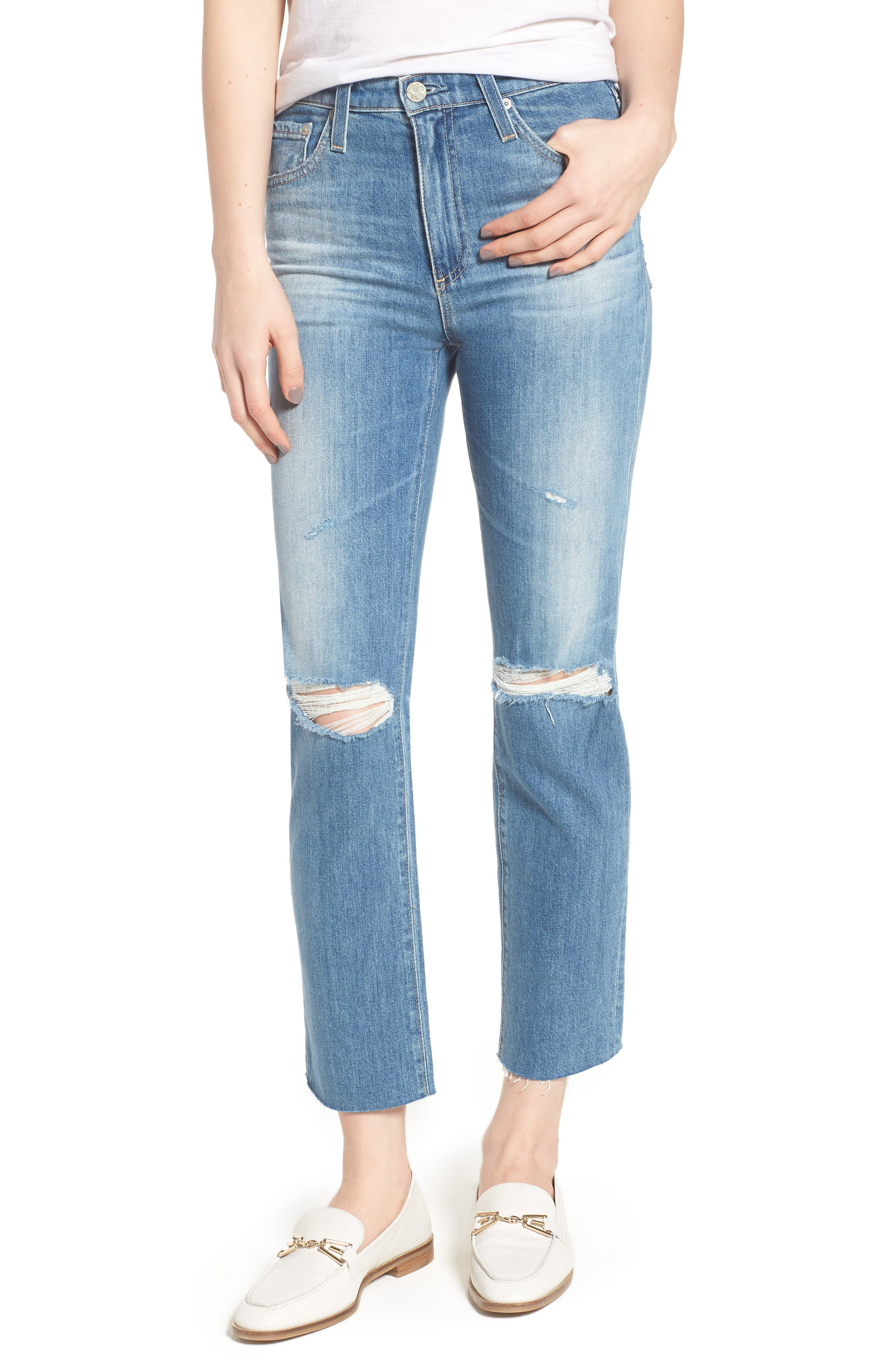 The Isabelle High Waist Crop Straight Leg Jeans,                             Main thumbnail 1, color,                             13 Years-Saltwater