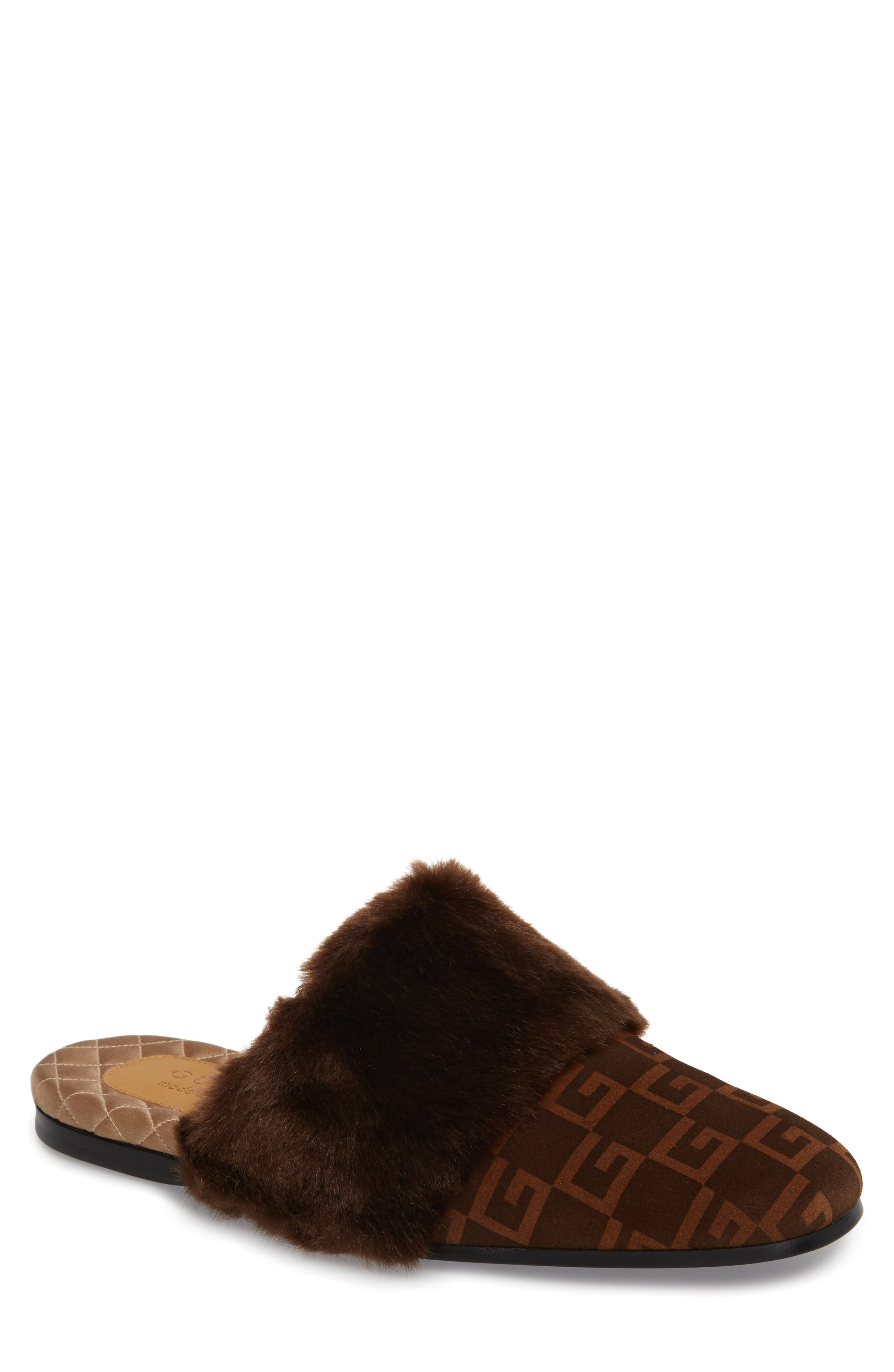 Lawrence Square-G Faux Fur Slipper,                         Main,                         color, Brown/ Sigaro