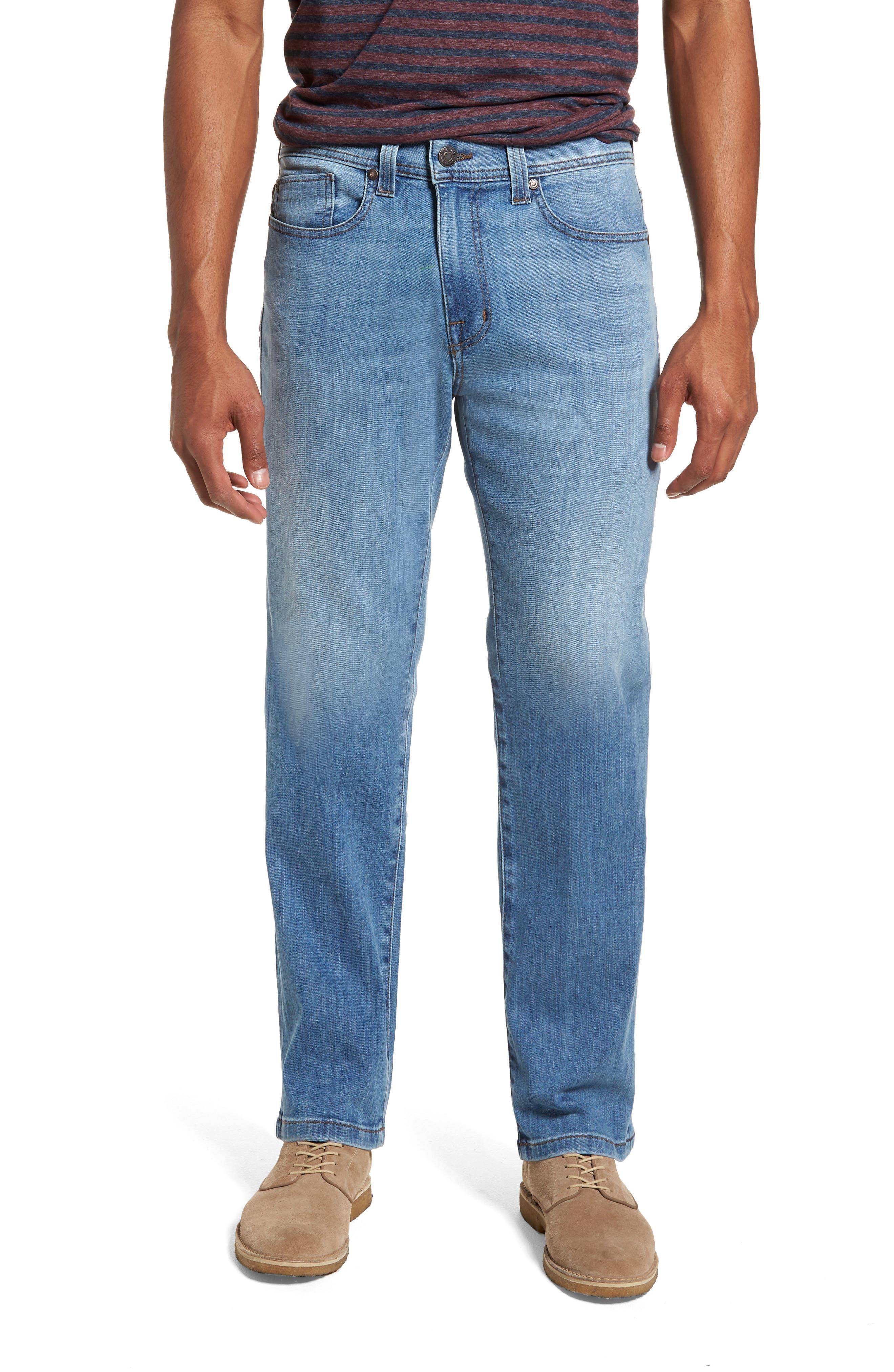 Jimmy Slim Straight Fit Jeans,                             Main thumbnail 1, color,                             Brixton Blue