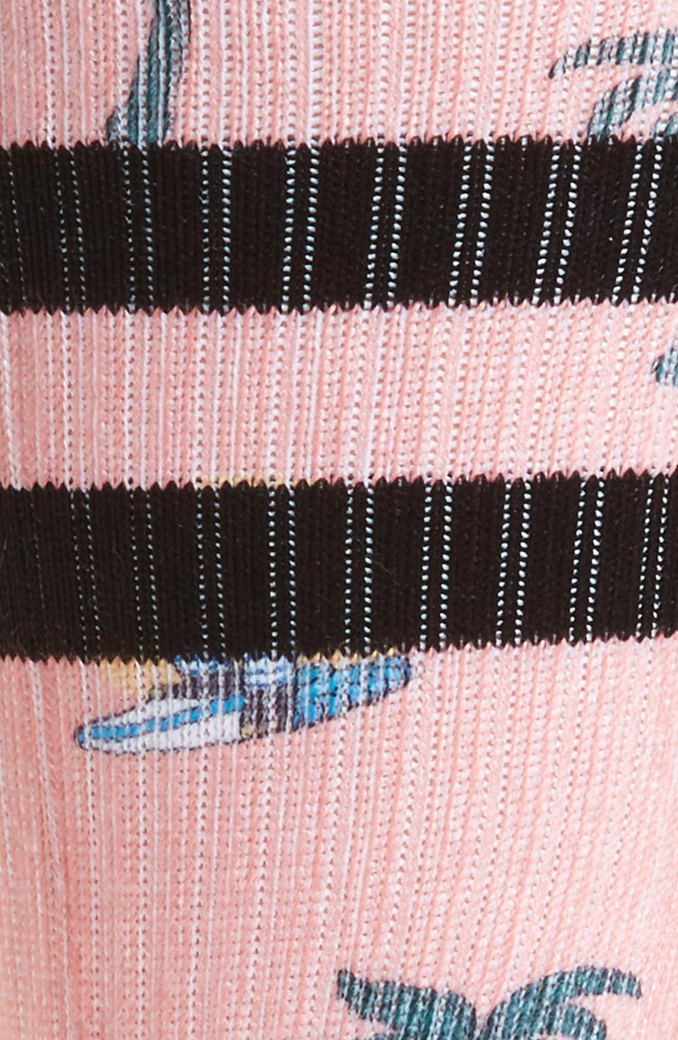 Surfin' Sunsets Monkey Crew Socks,                             Alternate thumbnail 2, color,                             Pink Multi