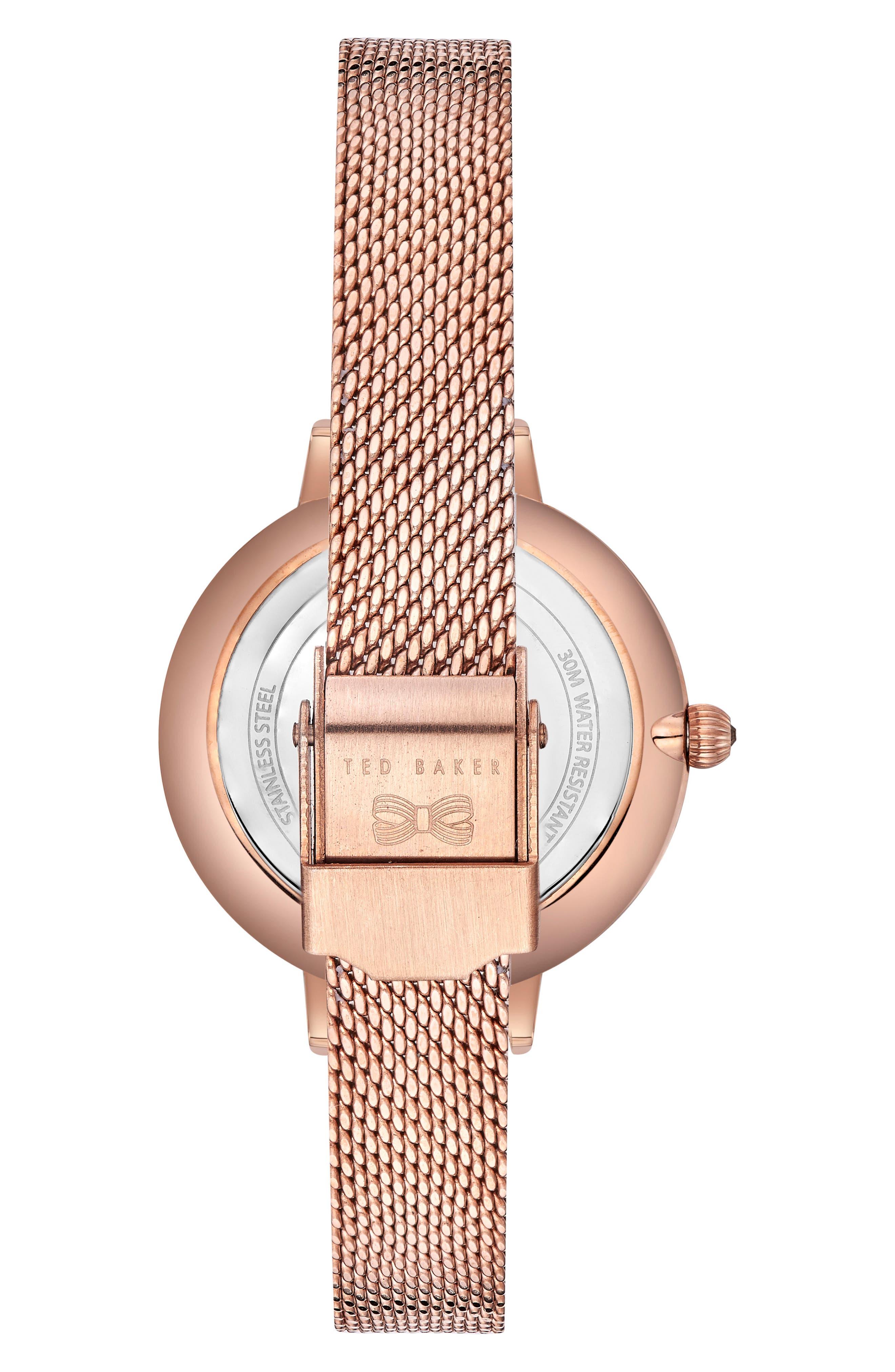 Kate Mesh Strap Watch, 32mm,                             Alternate thumbnail 3, color,                             Rose Gold/ Printed/ Rose Gold