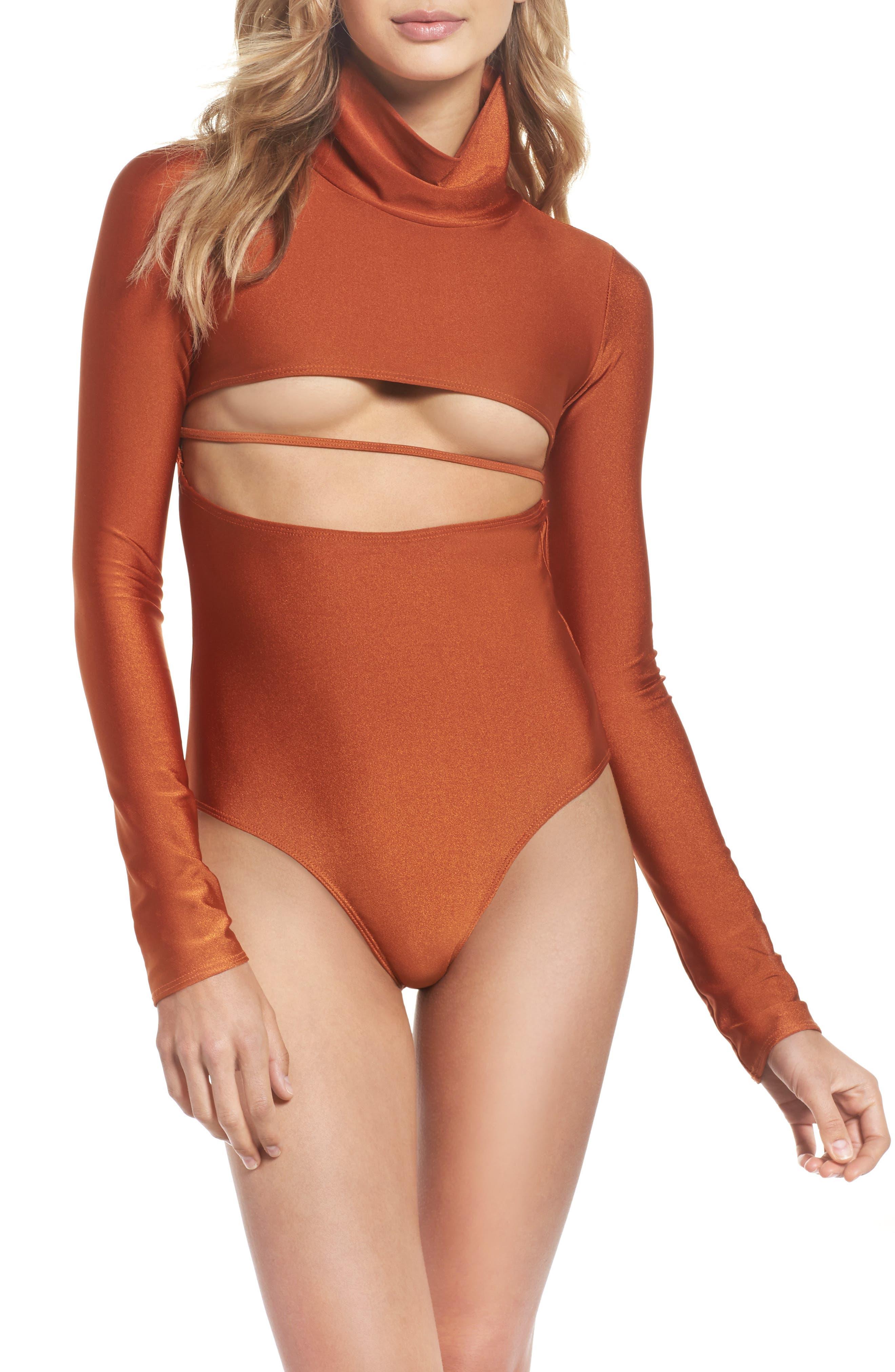 Long Sleeve Bodysuit,                             Main thumbnail 1, color,                             Ginger Orange