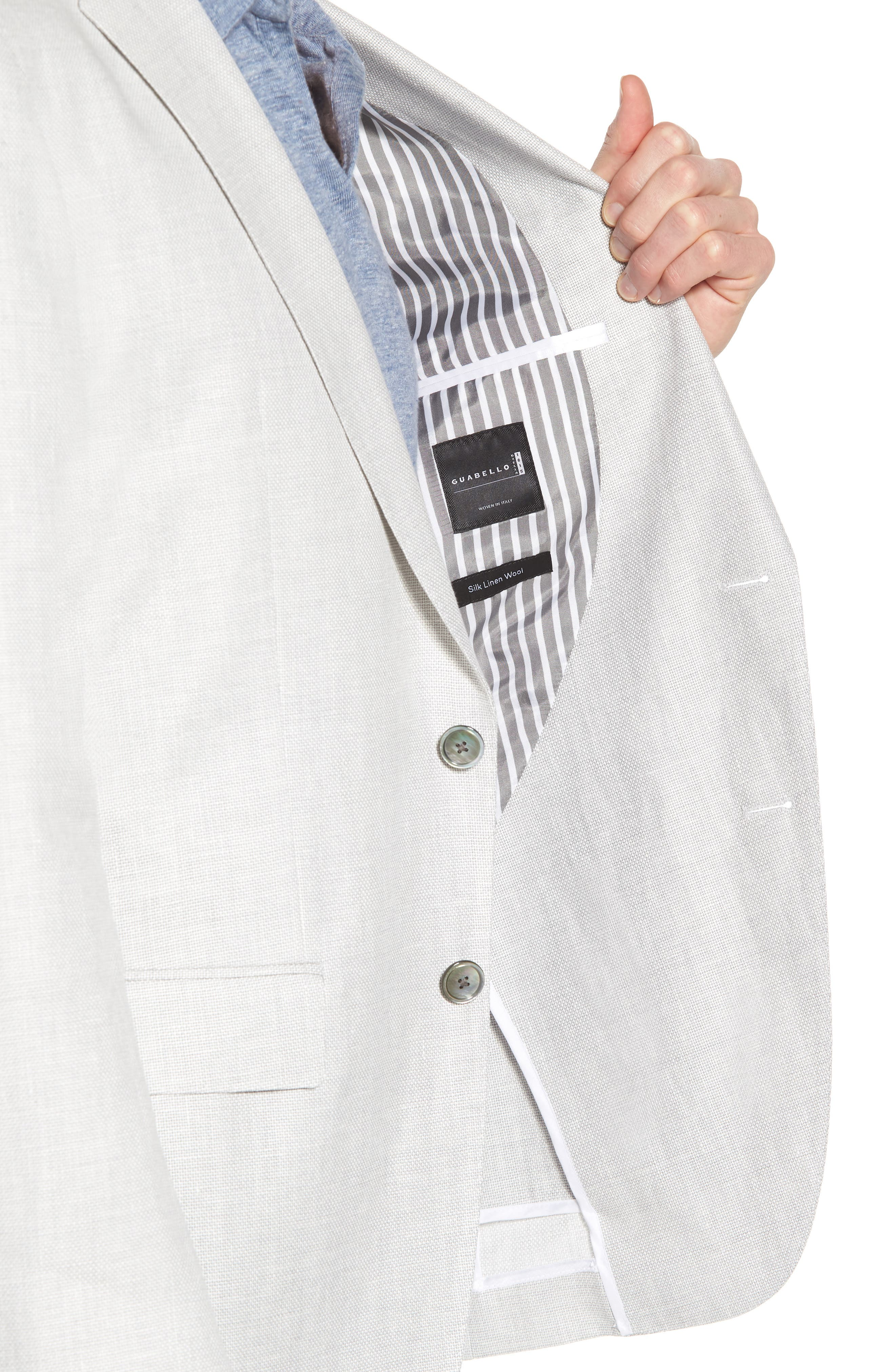 Hartlay Trim Fit Linen Blend Blazer,                             Alternate thumbnail 4, color,                             Silver Grey