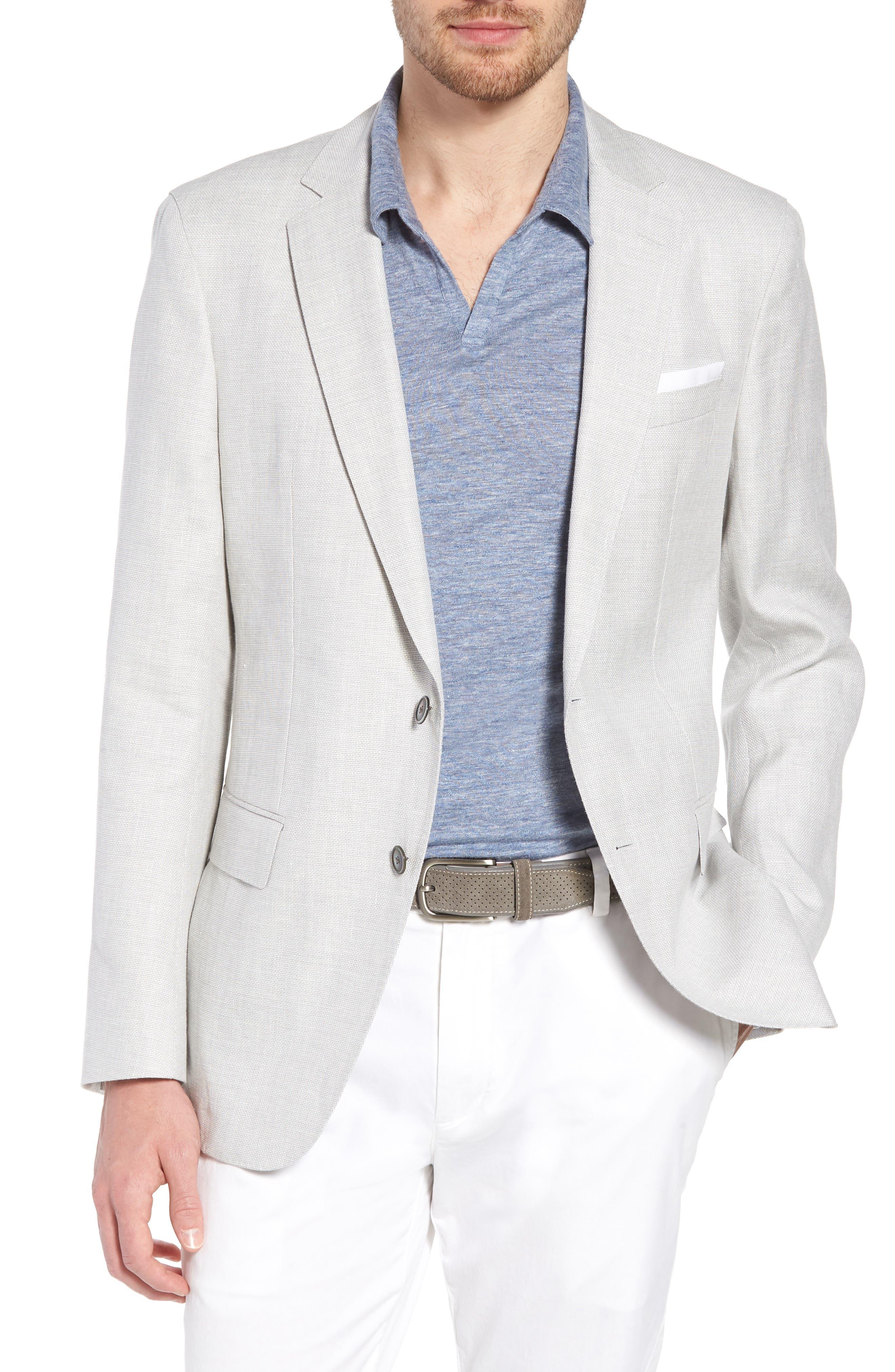 Hartlay Trim Fit Linen Blend Blazer,                             Main thumbnail 1, color,                             Silver Grey