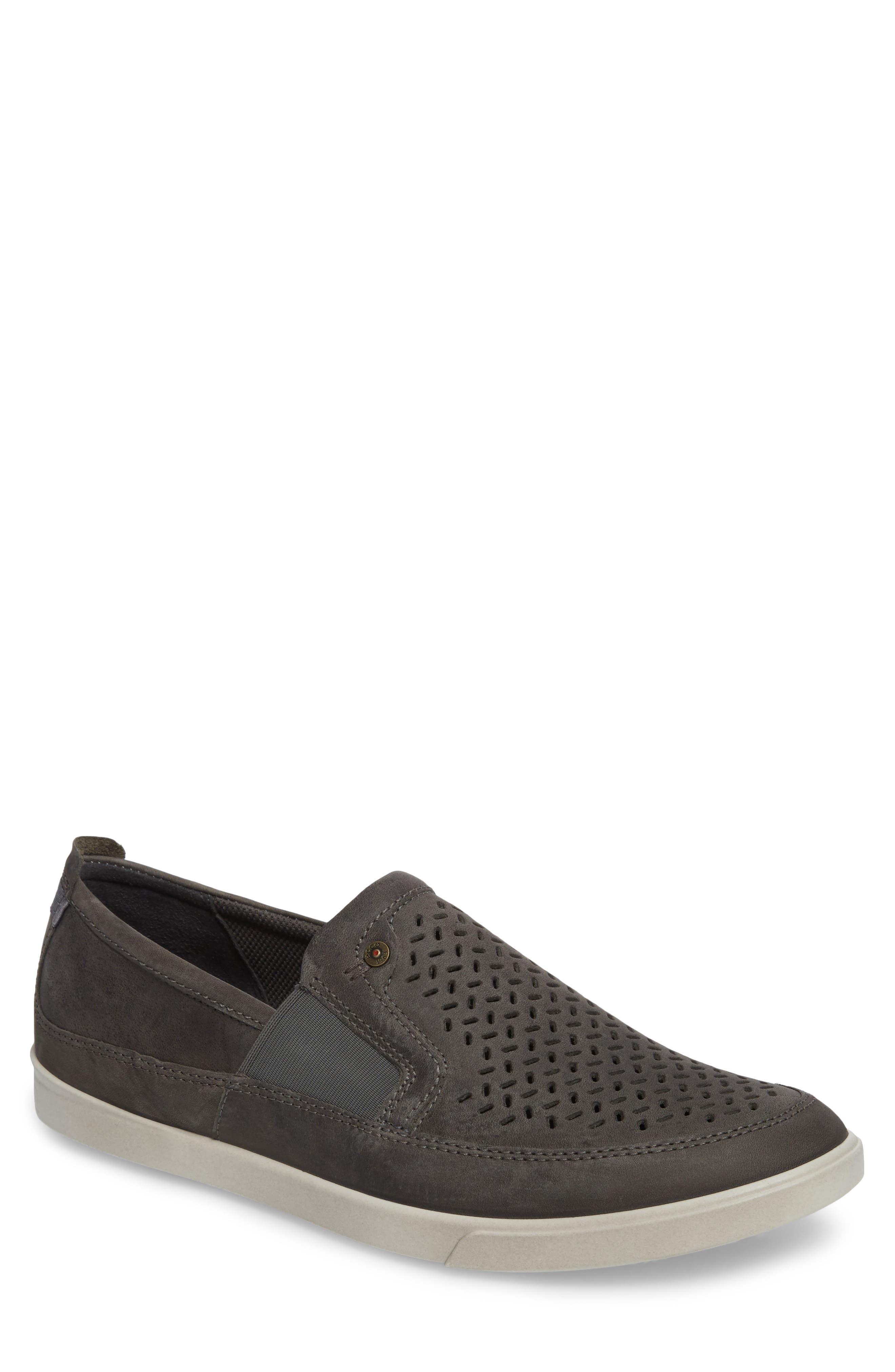 'Collin' Perforated Slip On Sneaker,                             Main thumbnail 1, color,                             Titanium Leather