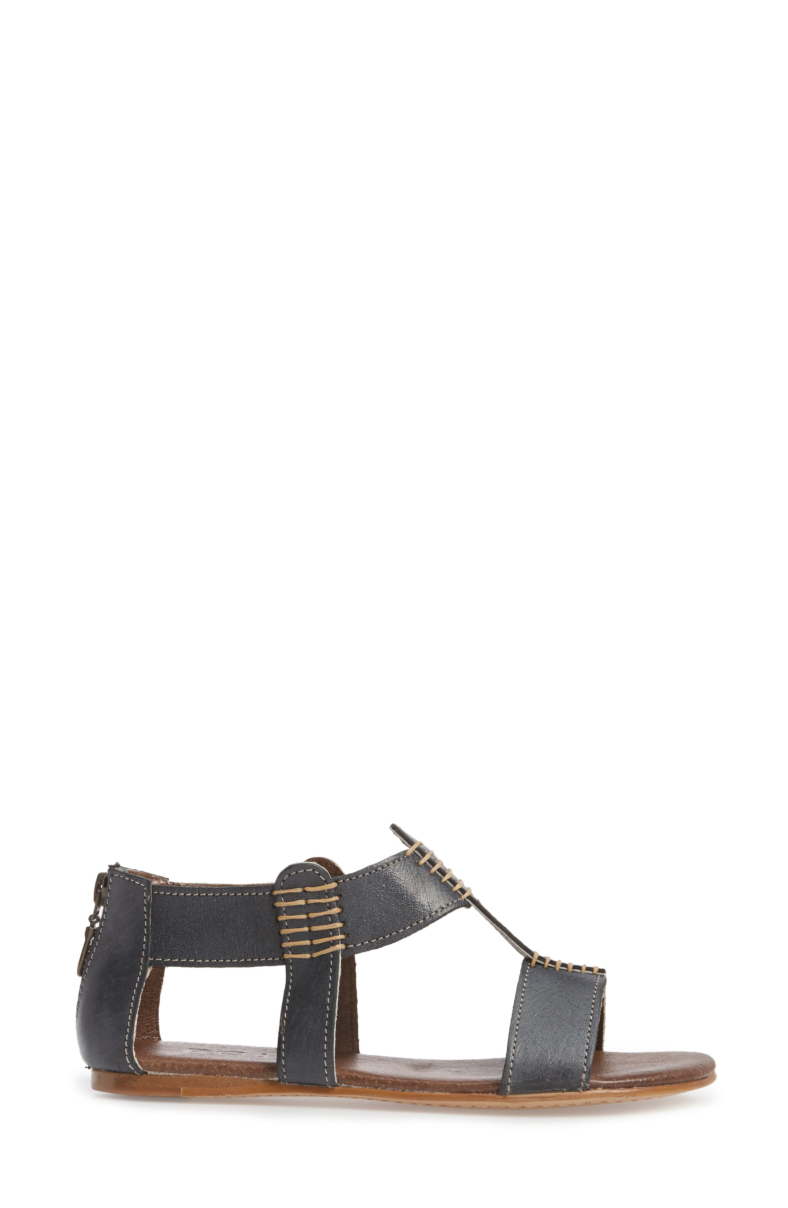 Jocelyn T-Strap Flat Sandal,                             Alternate thumbnail 3, color,                             Sydney Black