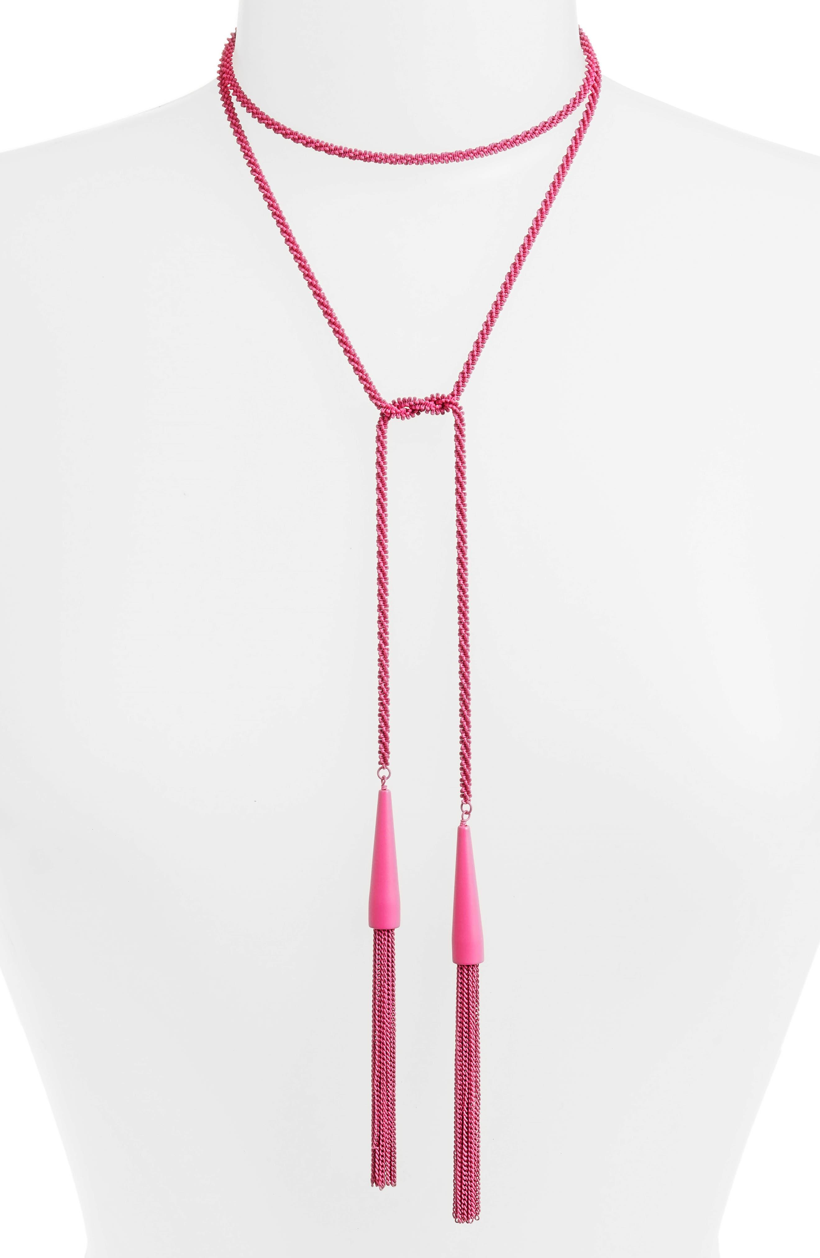 'Phara' Tassel Lariat Necklace,                             Alternate thumbnail 4, color,                             Matte Magenta