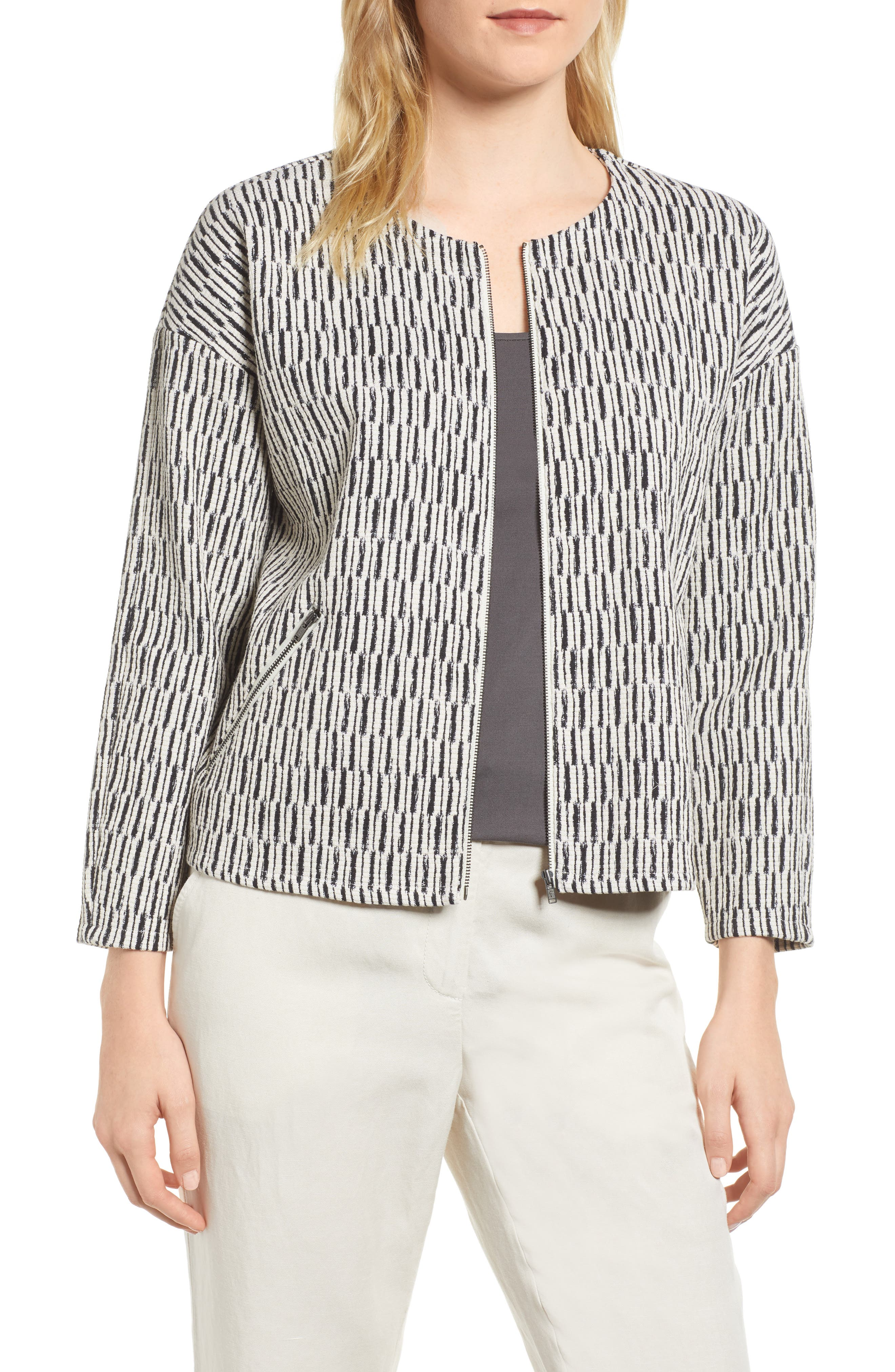 Tweed Jacket,                             Main thumbnail 1, color,                             Black/ White