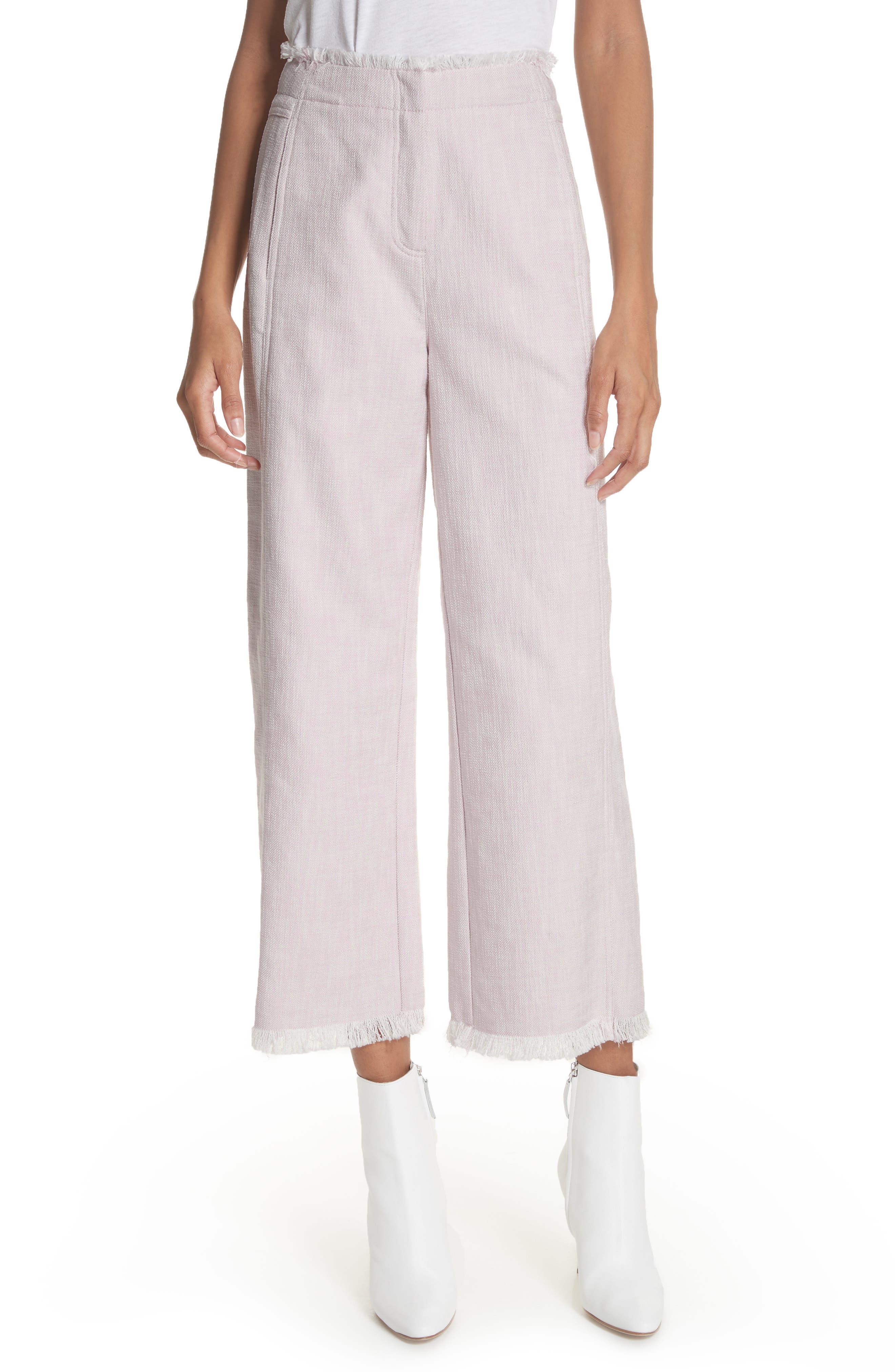 Slub Crop Pants,                         Main,                         color, Orchid