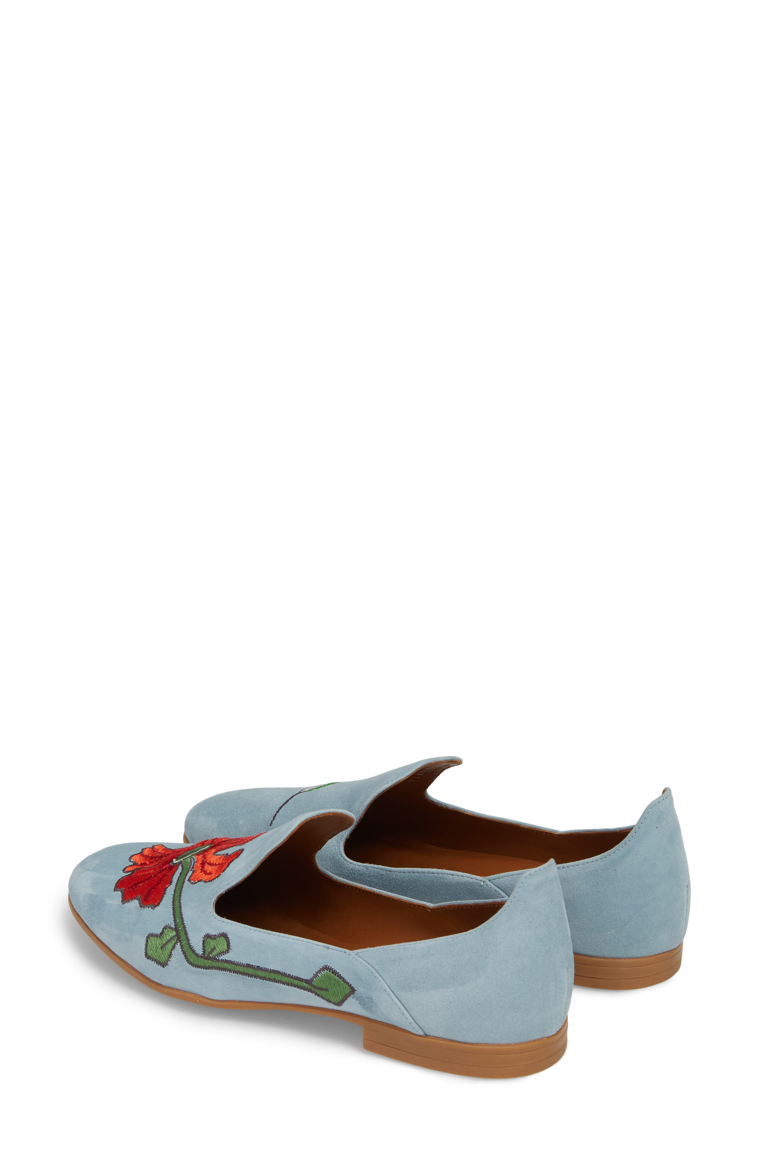 Emmaline Embroidered Loafer,                             Alternate thumbnail 3, color,                             Chambray