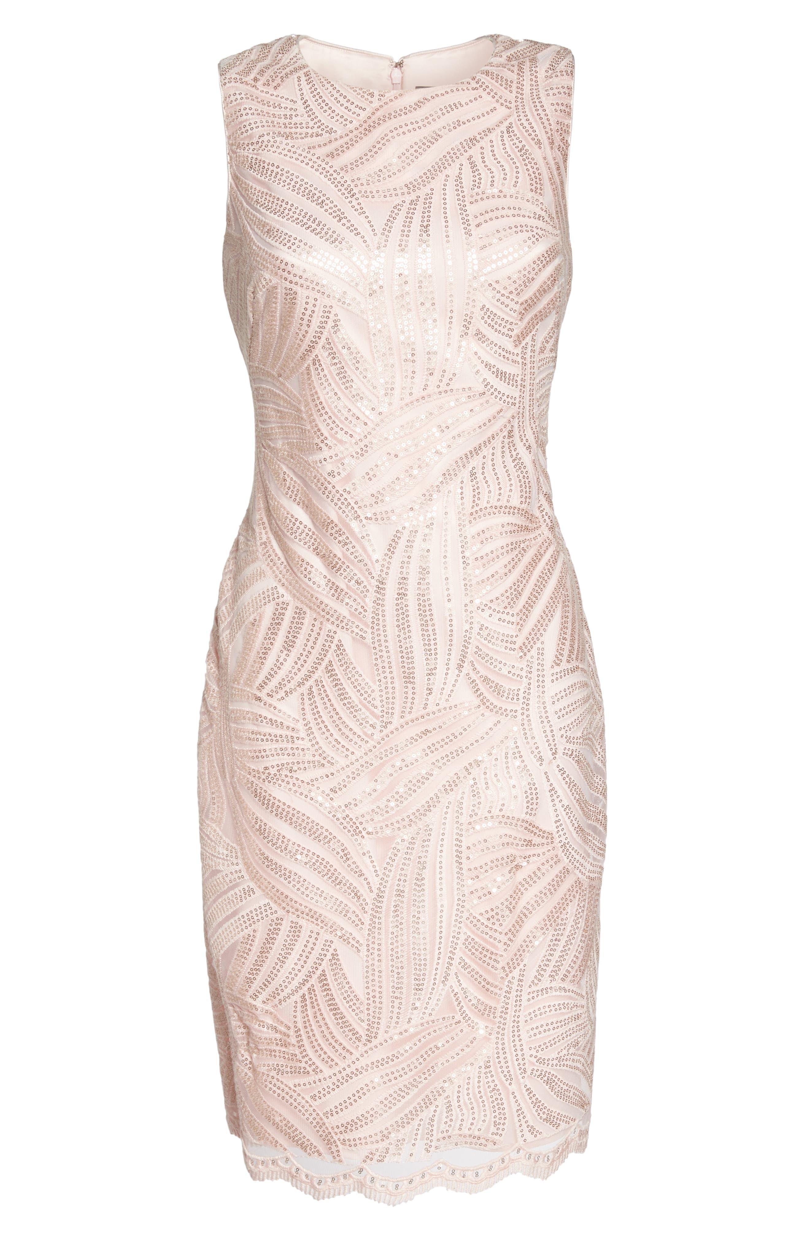 Sleeveless Sequin Sheath Dress,                             Alternate thumbnail 6, color,                             Light Pink