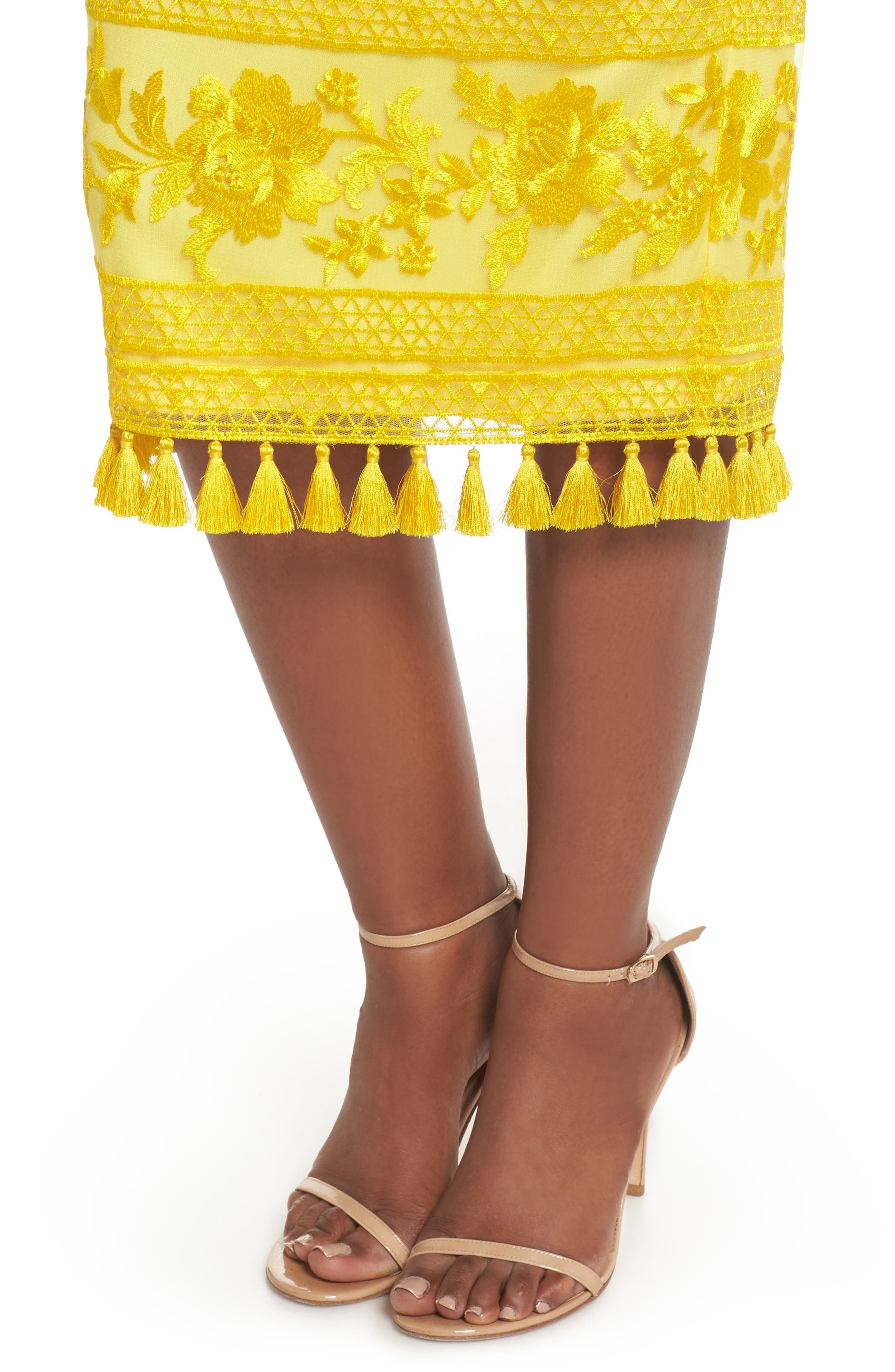 Sol Strapless Lace Midi Dress,                             Alternate thumbnail 4, color,                             Yellow Opal
