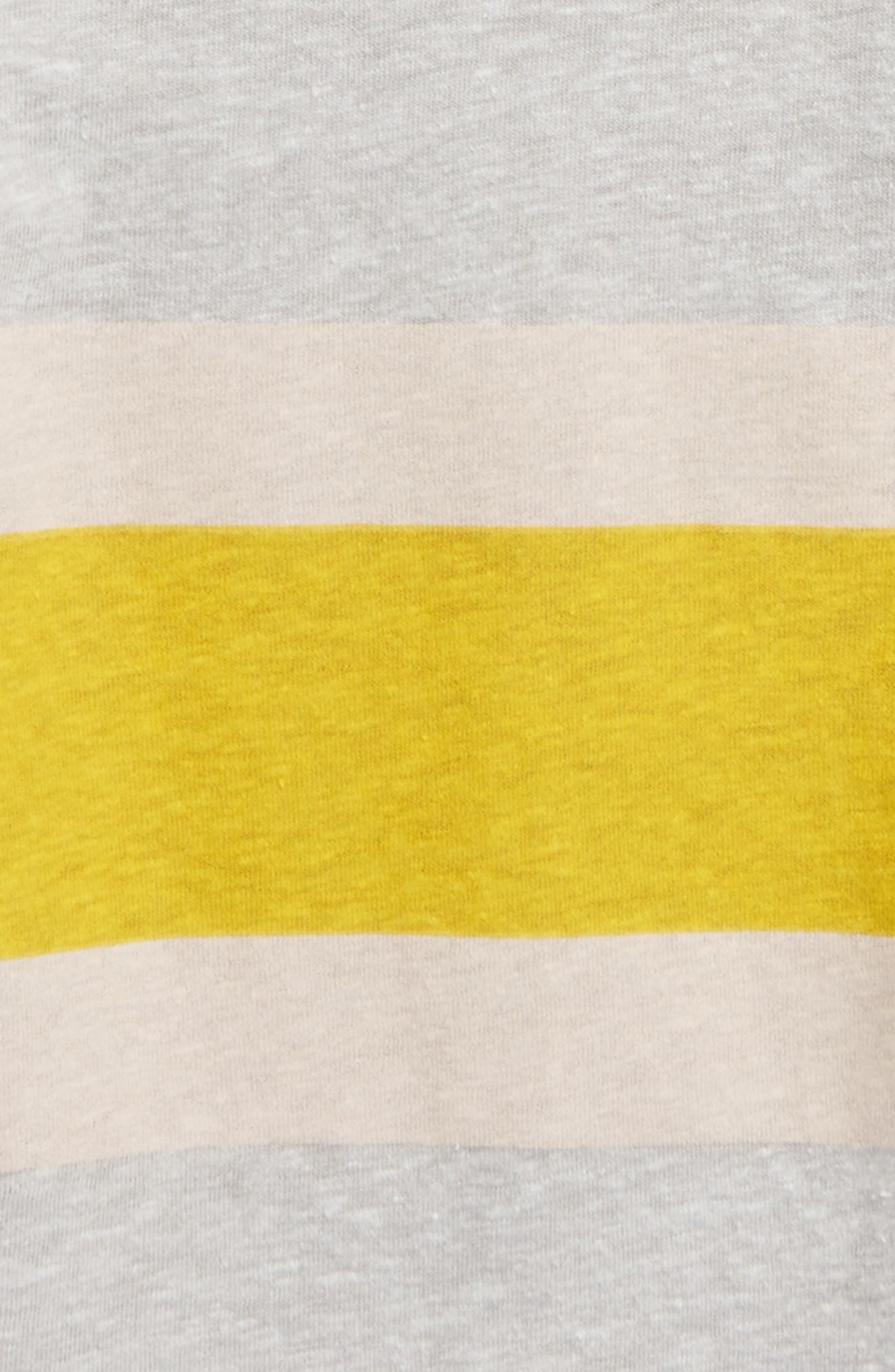 Stripe T-Shirt,                             Alternate thumbnail 2, color,                             Grey Medium Heather- Yellow