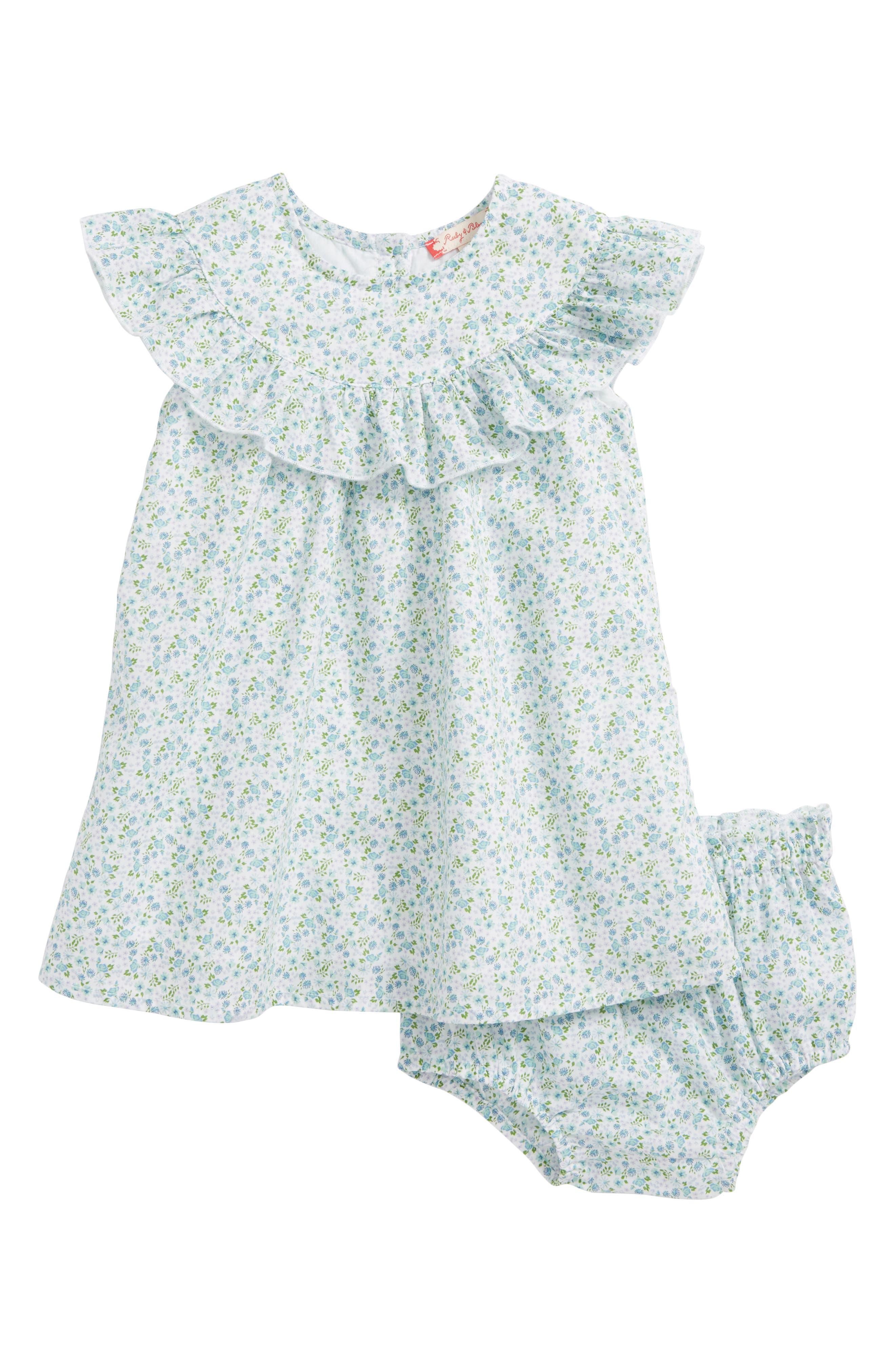 Ruffle Dress,                         Main,                         color, White- Blue Tropic Ditsy