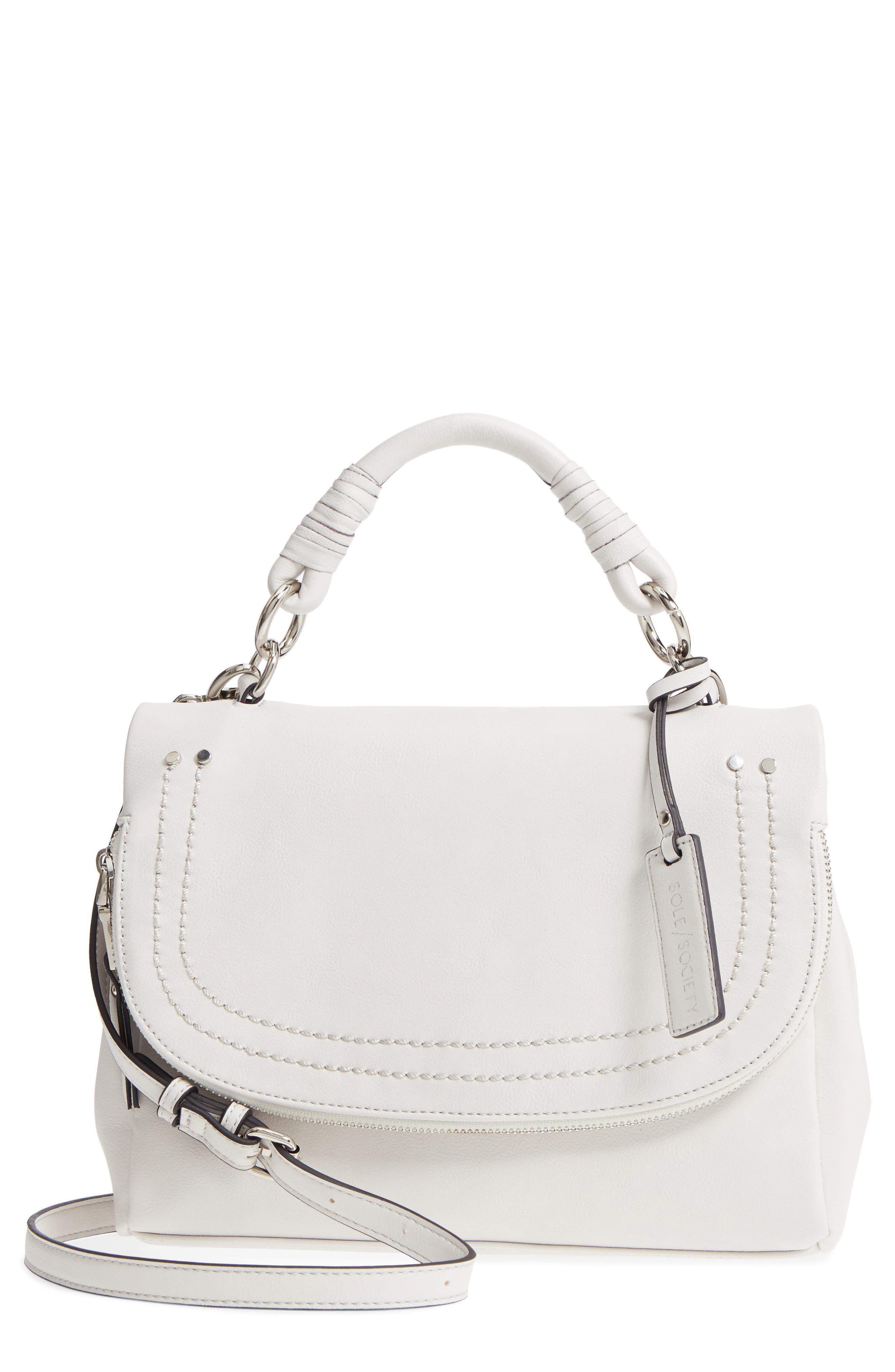 Top Handle Faux Leather Crossbody Bag,                             Main thumbnail 1, color,                             Linen White