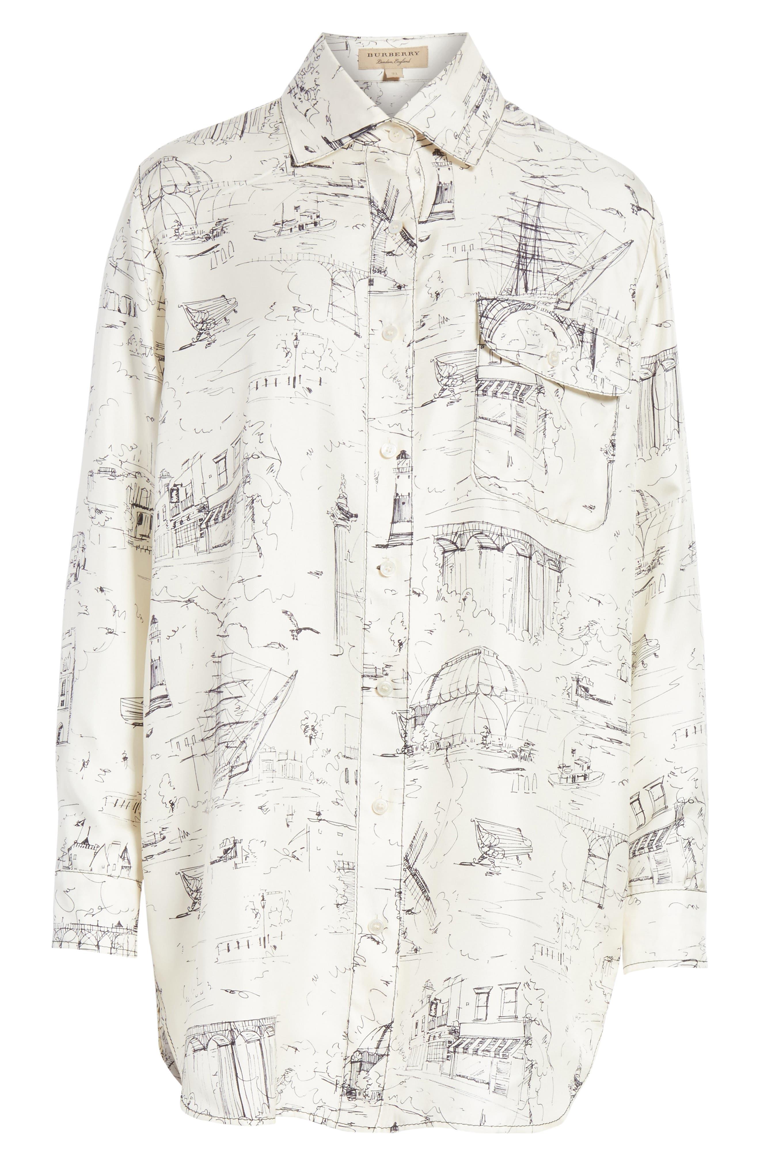 Chava Sketch Silk Shirt,                             Alternate thumbnail 6, color,                             Off White