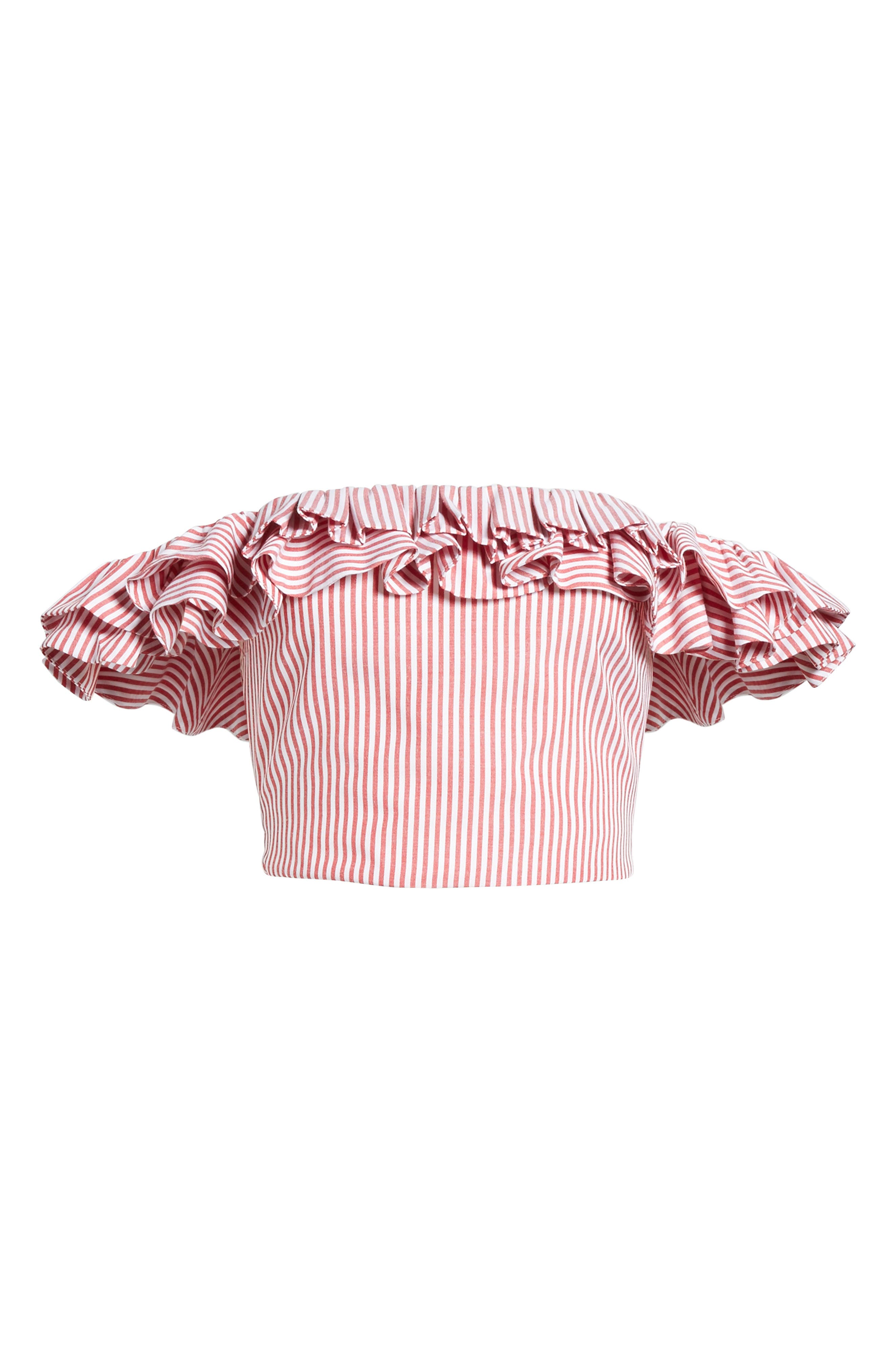 Anzio Off the Shoulder Ruffle Crop Top,                             Alternate thumbnail 13, color,                             Red Stripe