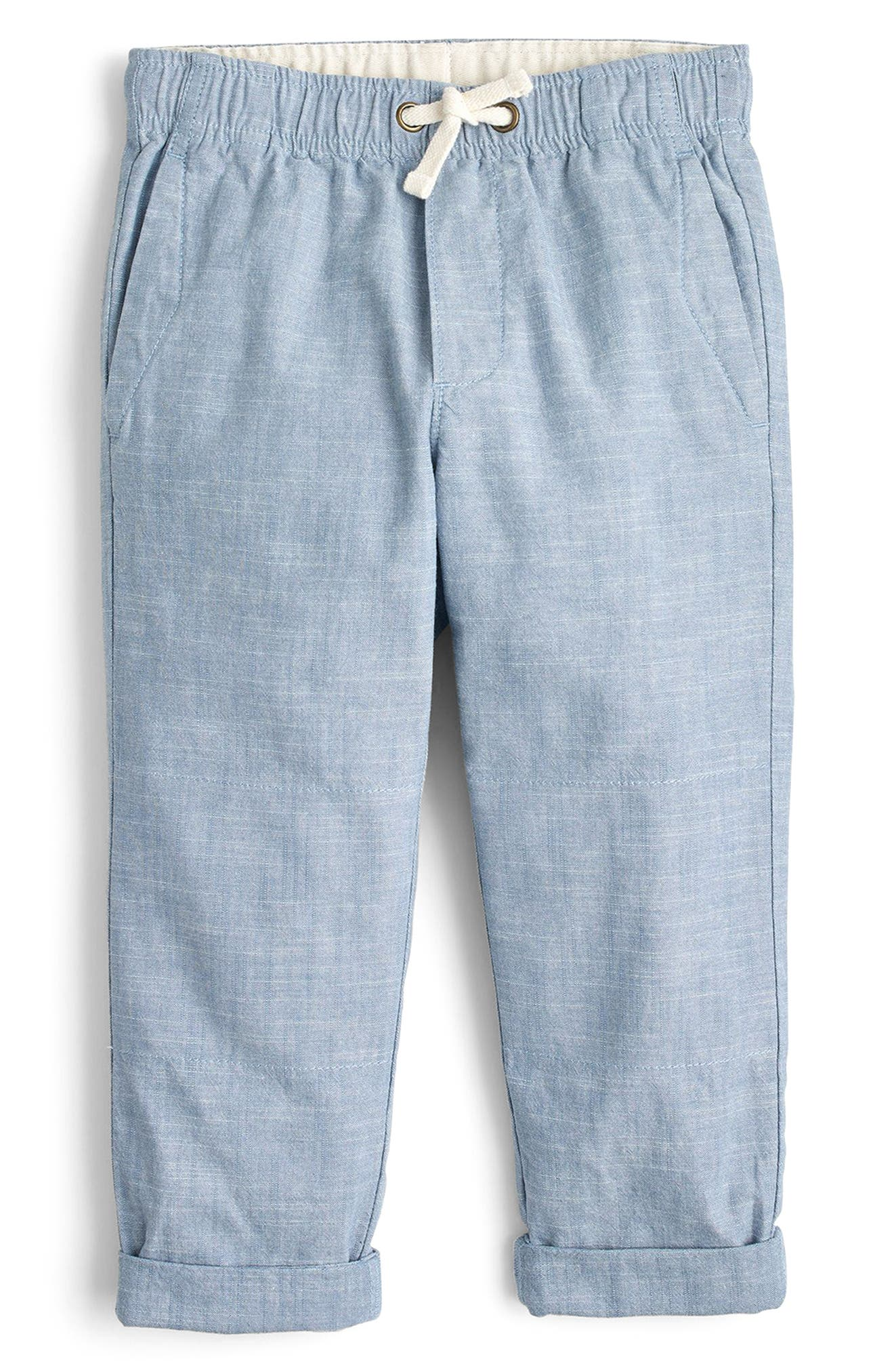 Chambray Reinforced Knee Pull-On Pants,                         Main,                         color, Lakeview
