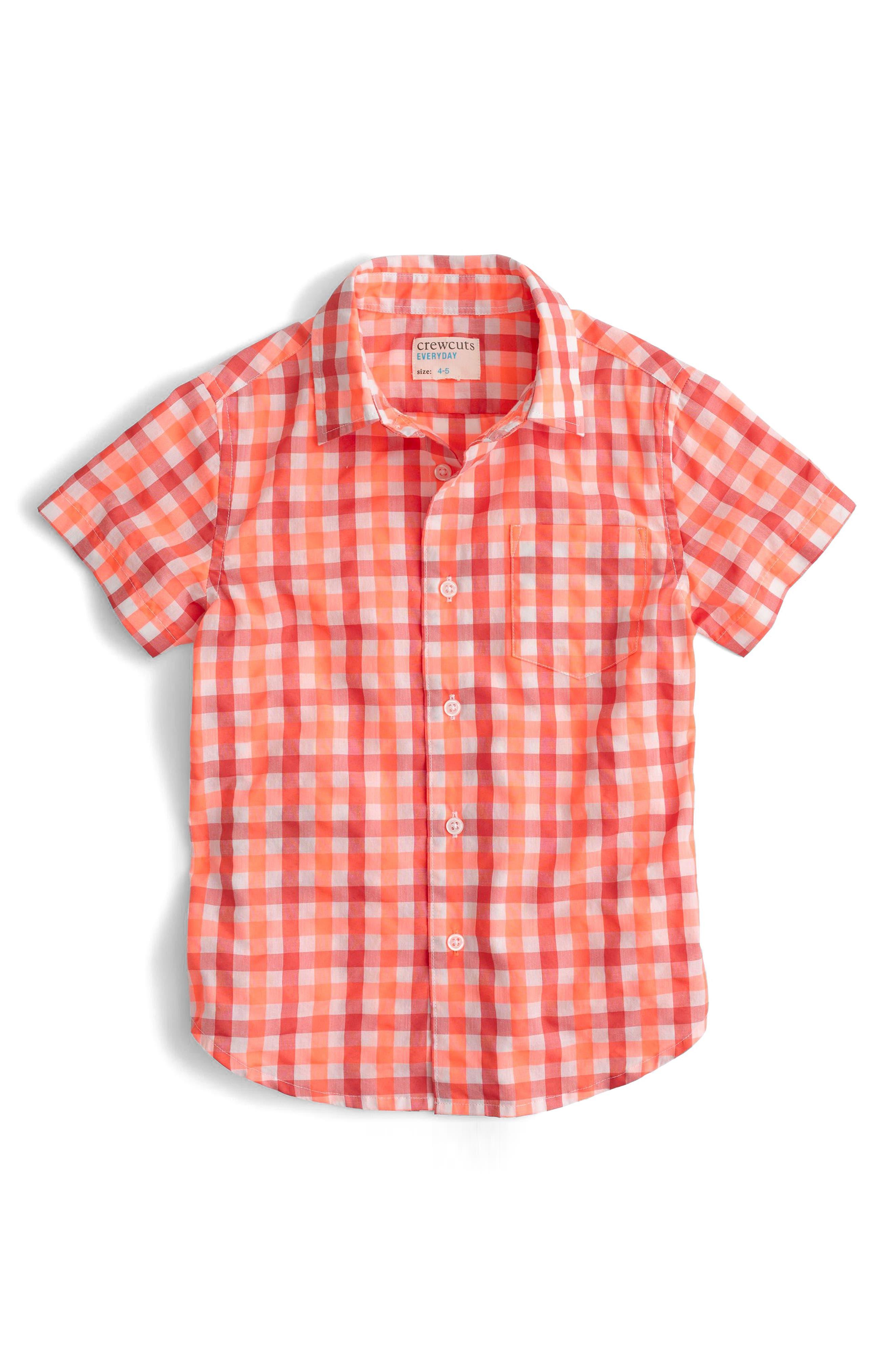 crewcuts by J.Crew Secret Wash Short Sleeve Gingham Shirt (Toddler Boys, Little Boys & Big Boys)
