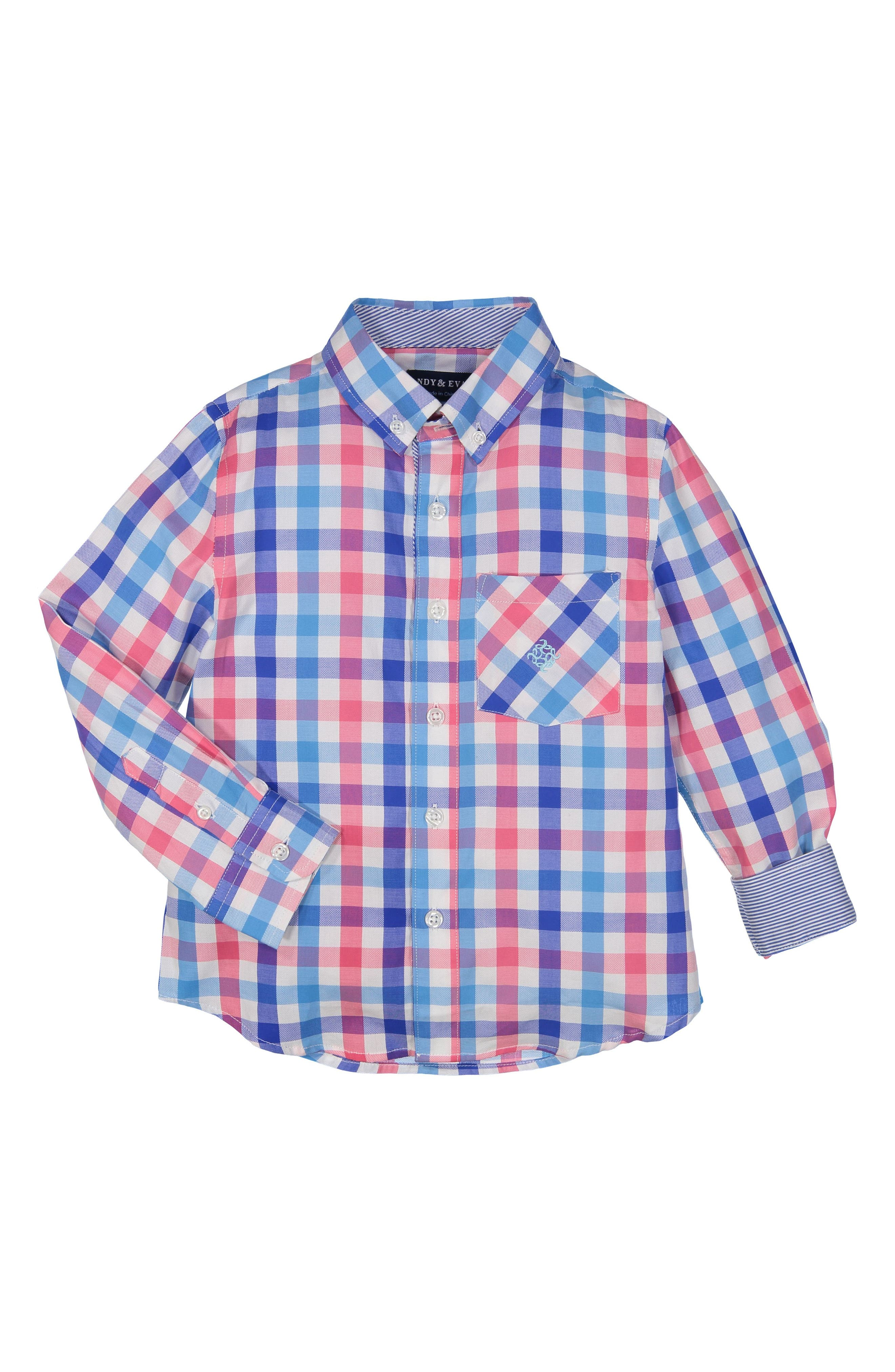 Check Woven Shirt,                             Main thumbnail 1, color,                             Pink