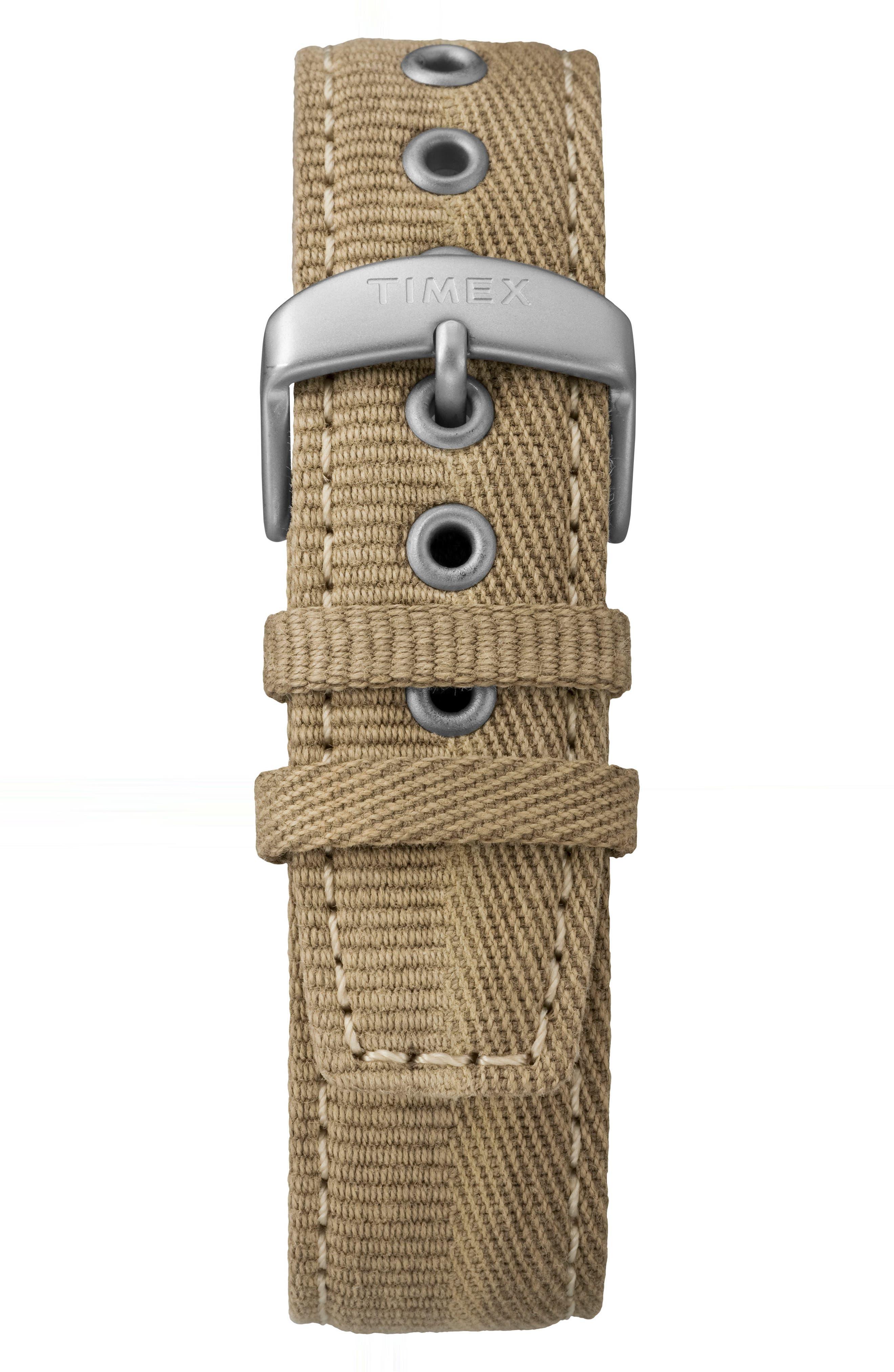 Allied Canvas Strap Watch, 42mm,                             Alternate thumbnail 2, color,                             Khaki/ Beige/ Silver