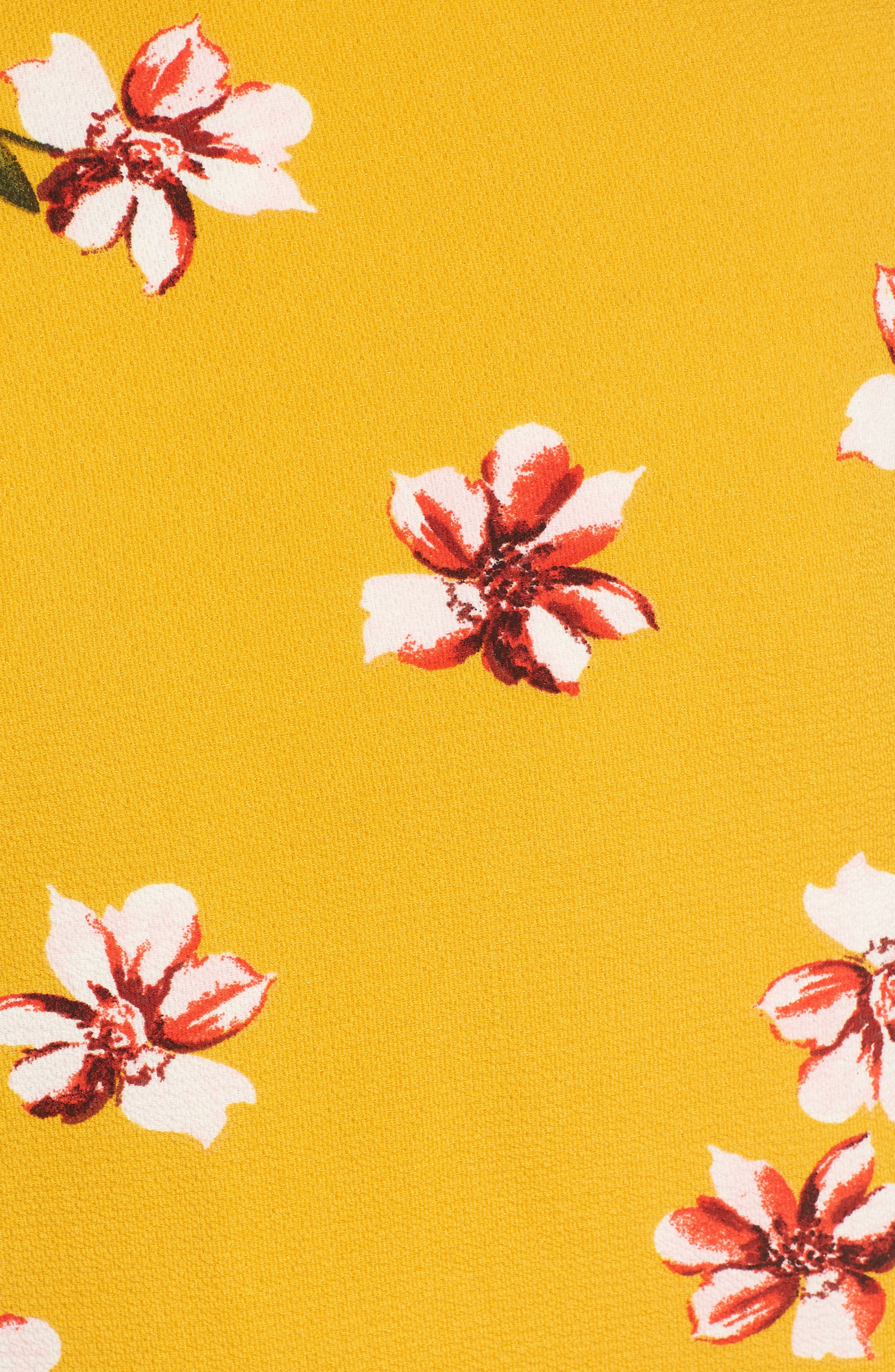 Floral Wrap Crop Top,                             Alternate thumbnail 5, color,                             Mustard Floral