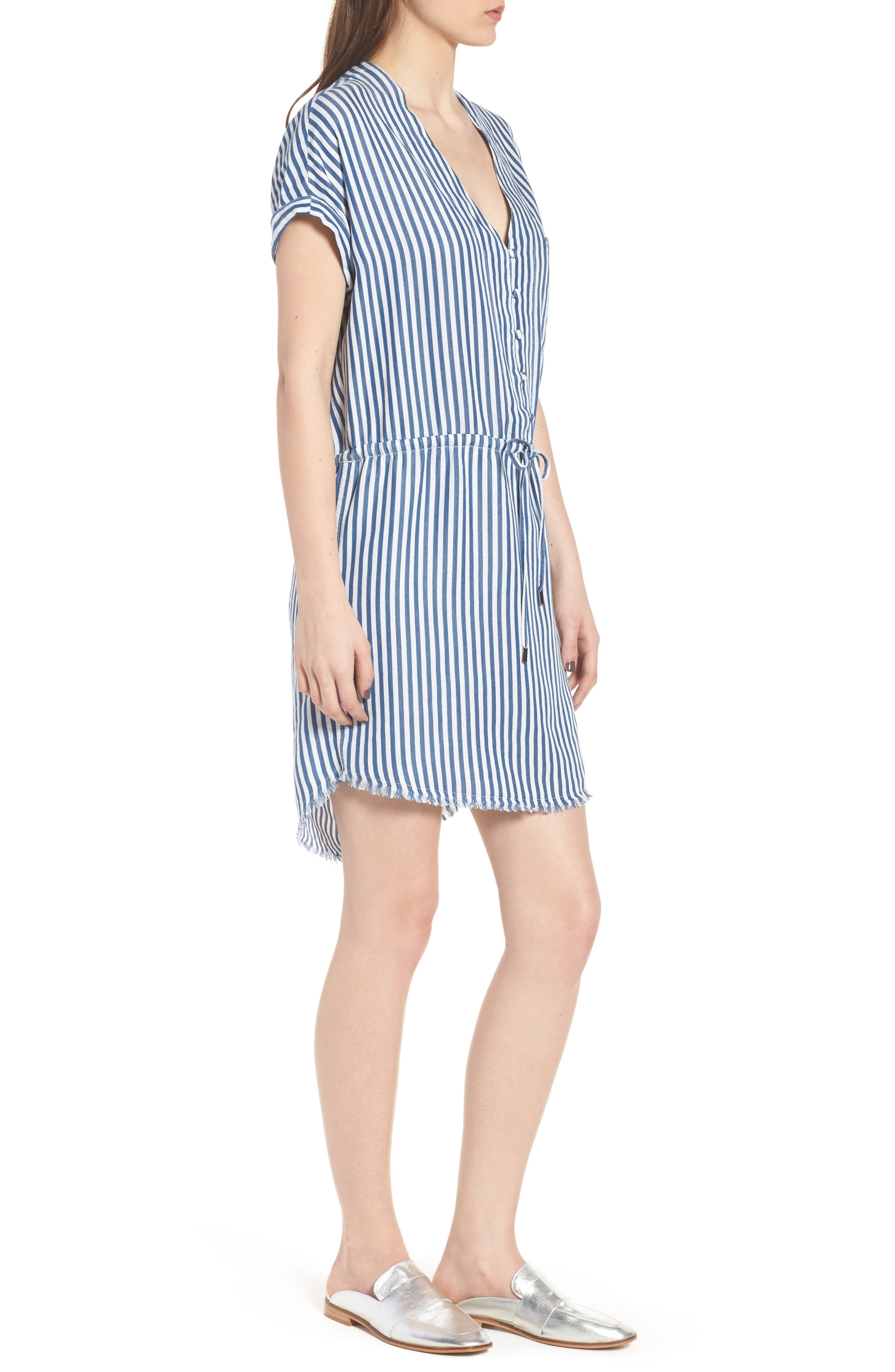 Haidee Stripe Shift Dress,                             Alternate thumbnail 3, color,                             White/ Blue Bell Stripe