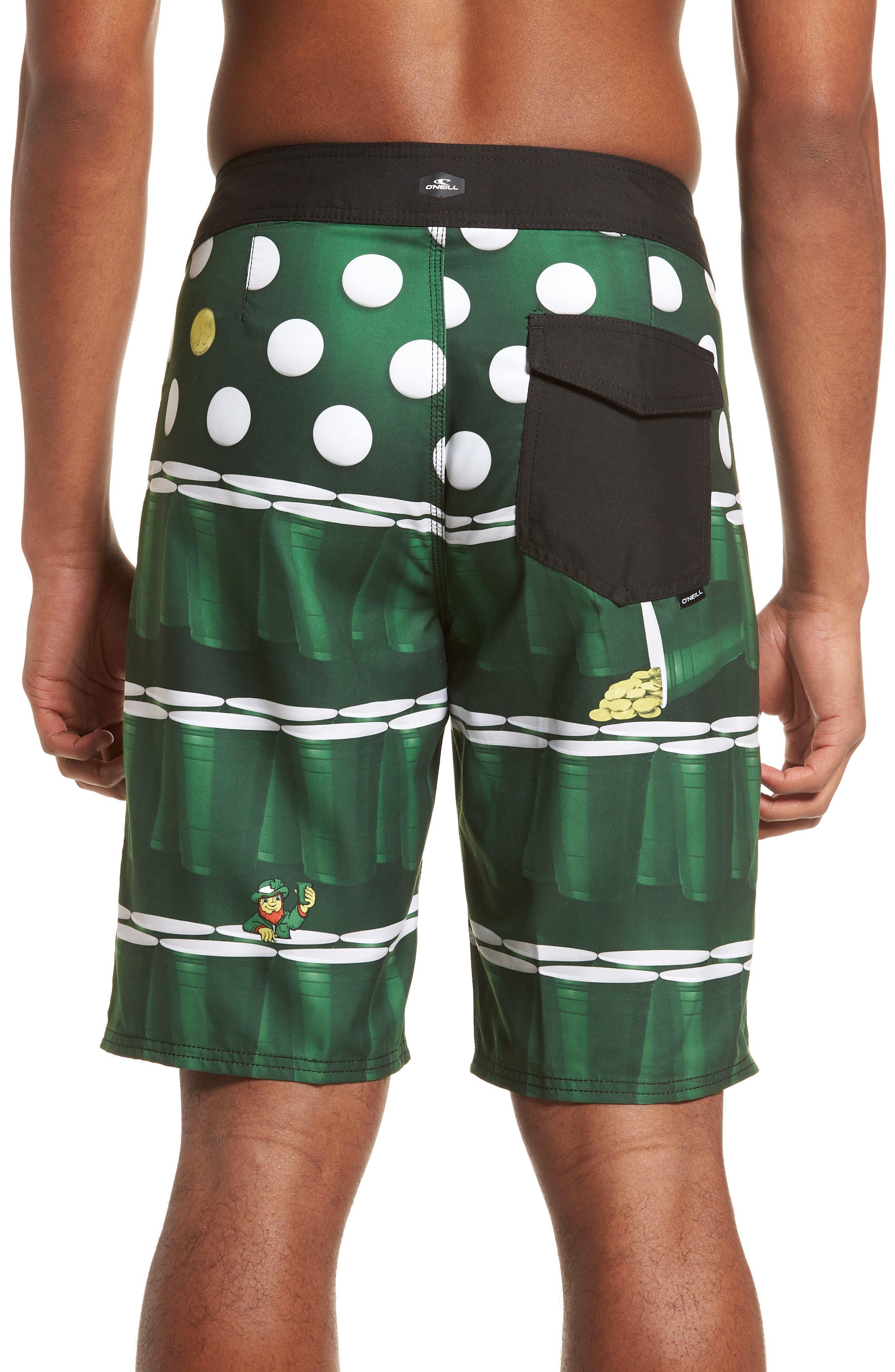 St. Paddy's Pong Board Shorts,                             Alternate thumbnail 2, color,                             Green