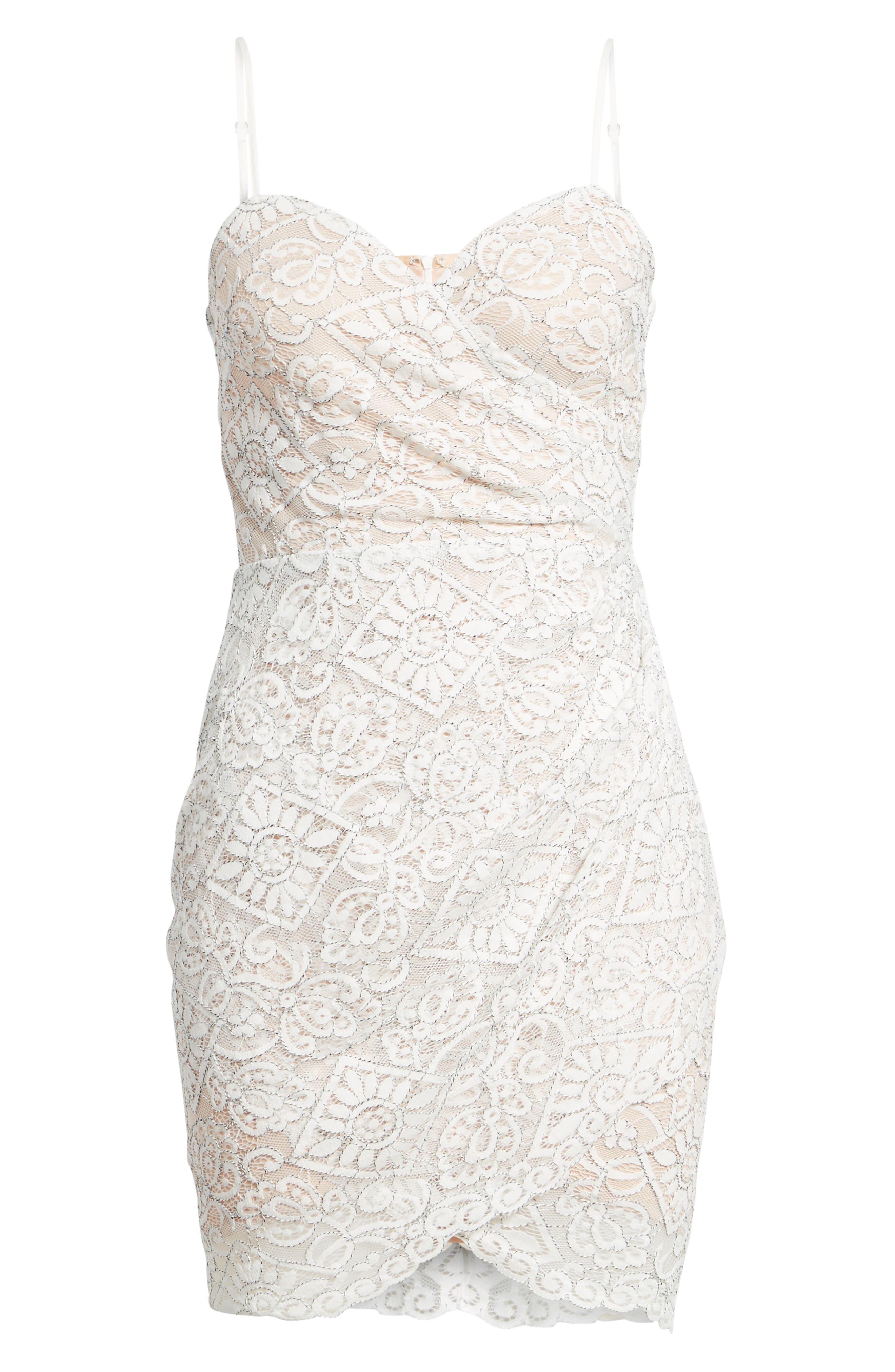 Lace Minidress,                             Alternate thumbnail 6, color,                             Ivory
