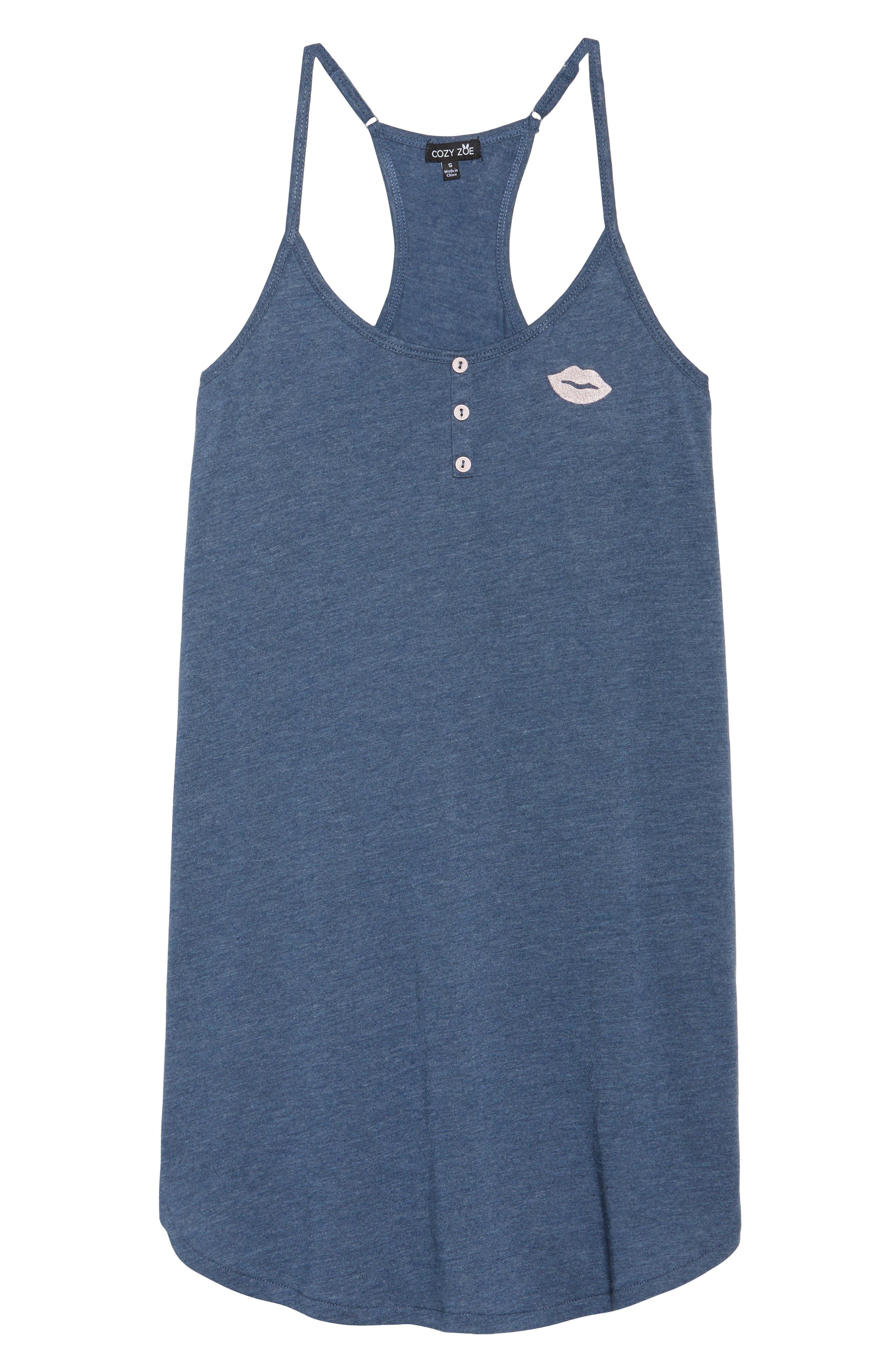 Jersey Chemise,                             Alternate thumbnail 6, color,                             Blue Melange