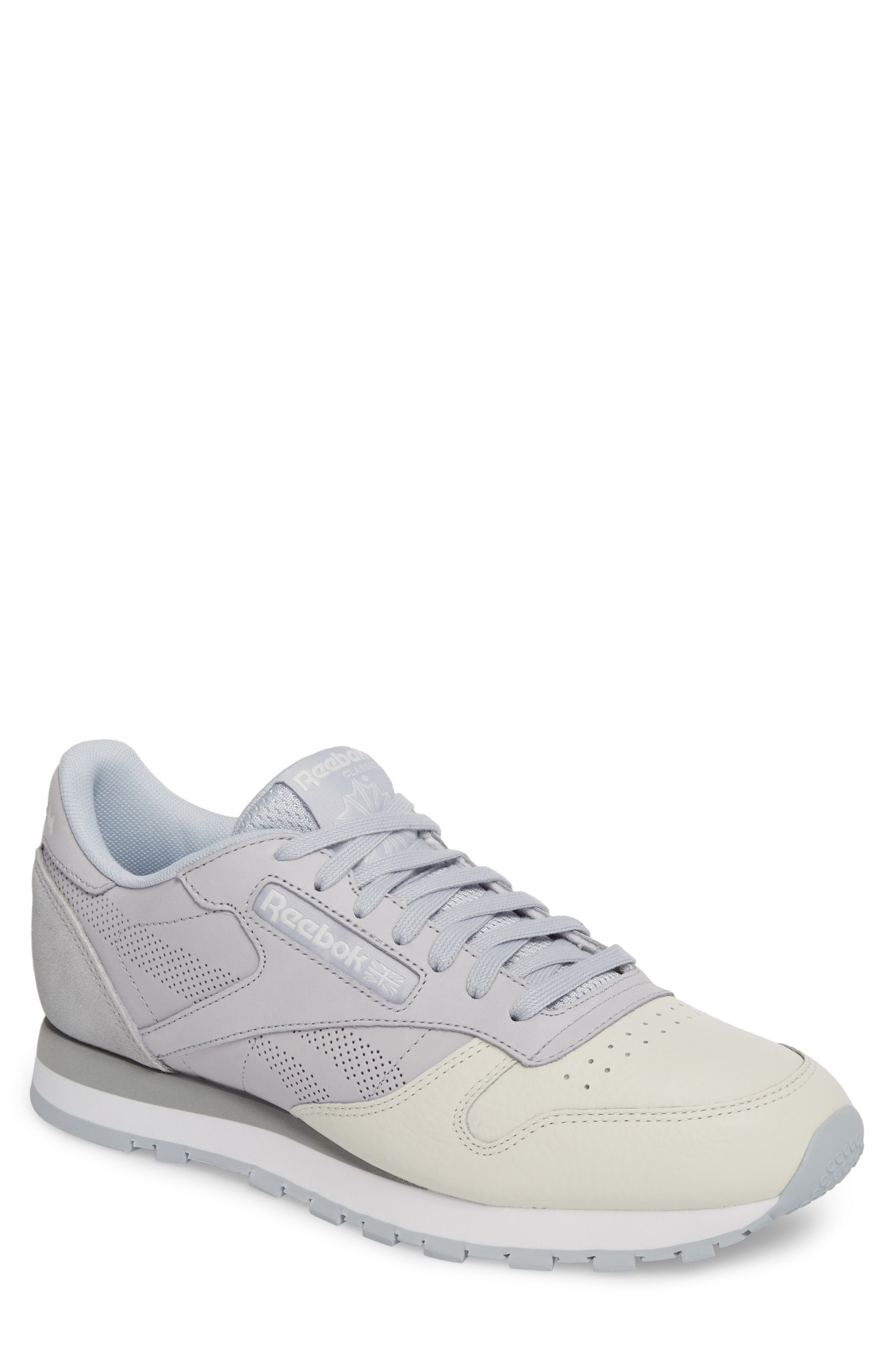 Classic Leather UE Sneaker,                         Main,                         color, Grey/ Chalk/ Stark Grey/ White